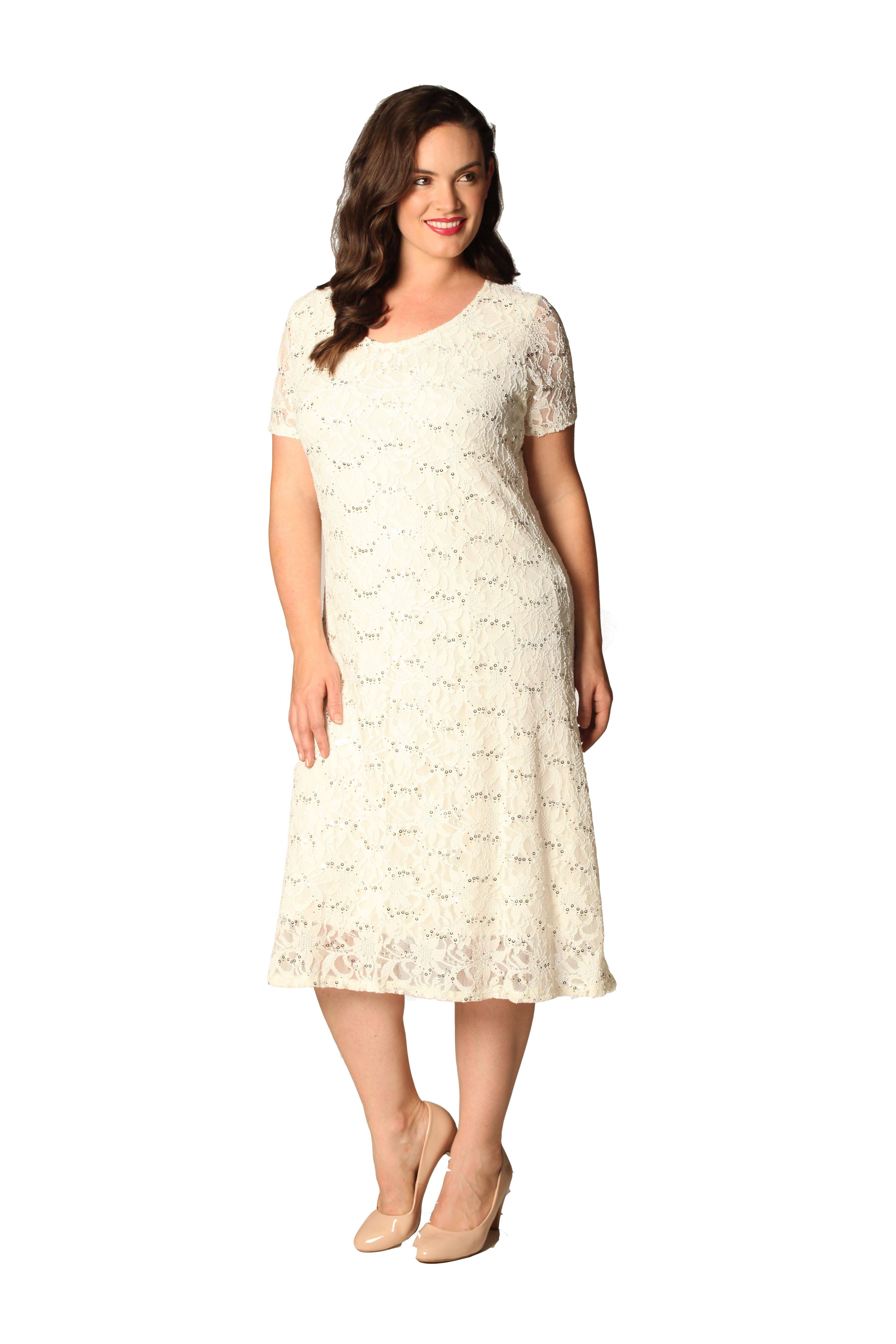 Womens Plus Size Dress Ladies Flapper Sequin Lace Floral Short ...