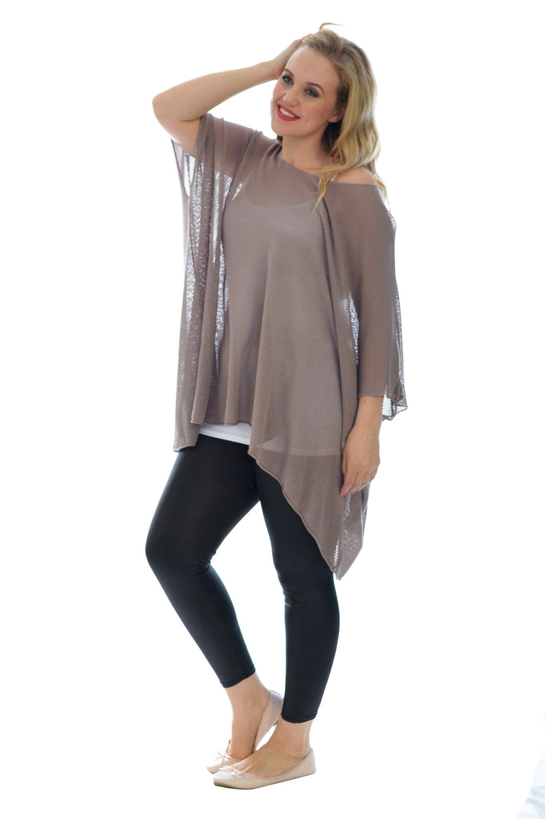 Womens New Soft Knit Baggy Oversized Tunic Sweater Top ...