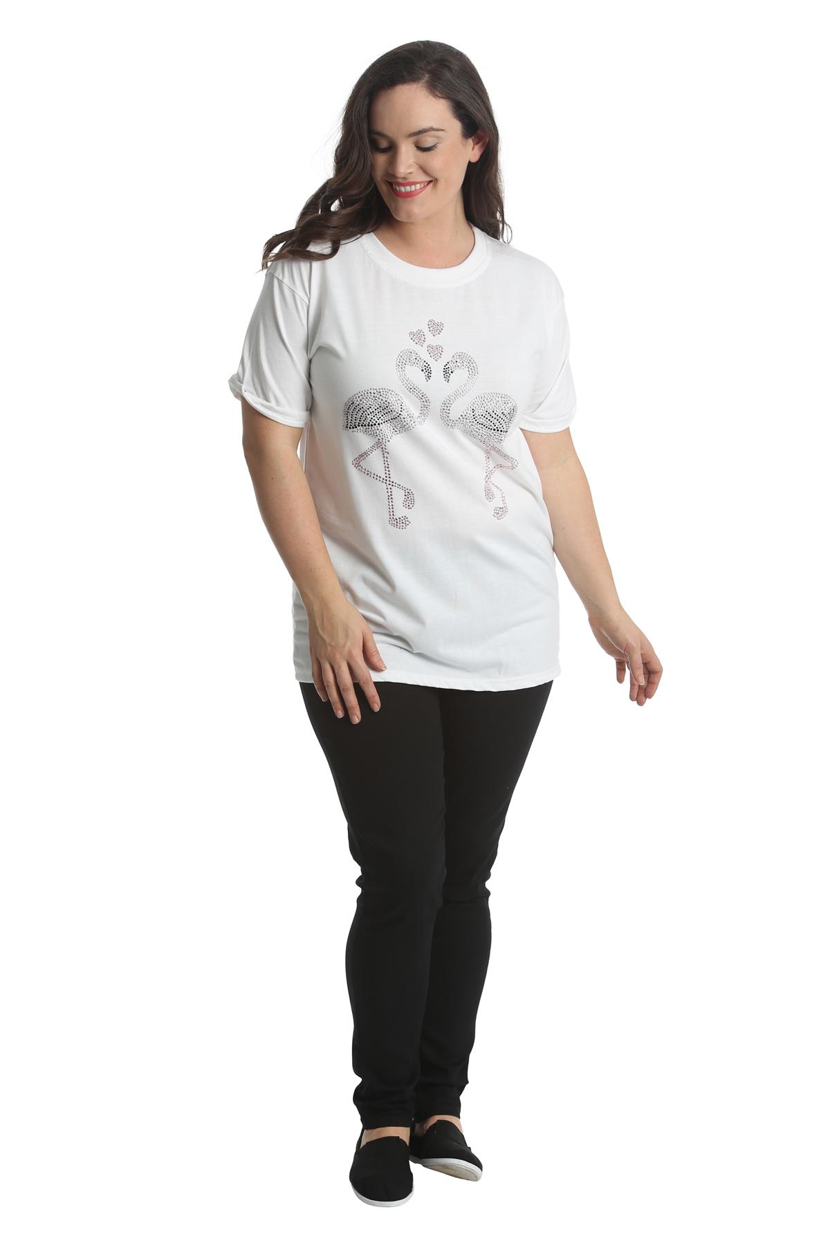 Ladies Top Womens Plus Size Shirt Flamingo Stud Rhinestone ...