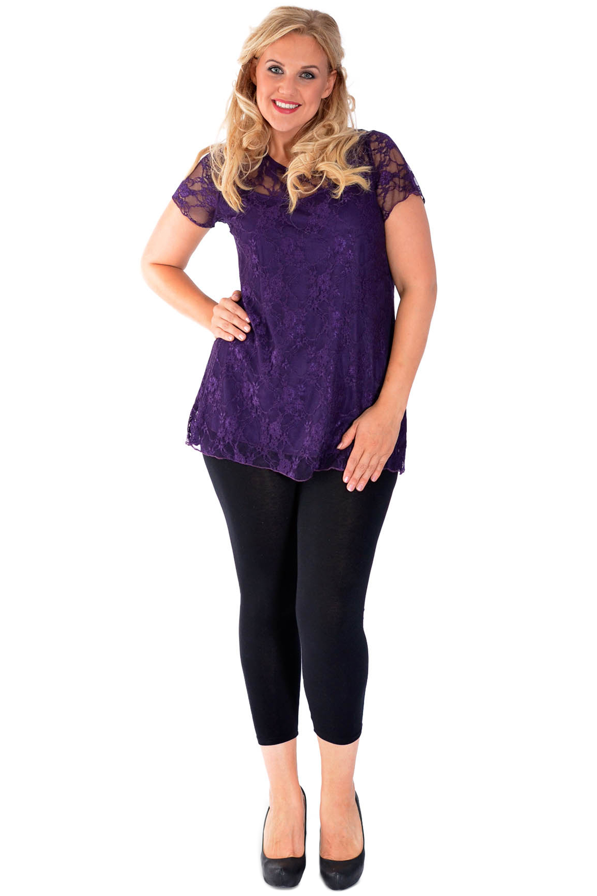 New Womens Top Plus Size Ladies Lace Lined Tunic Short Sleeve T-Shirt Nouvelle