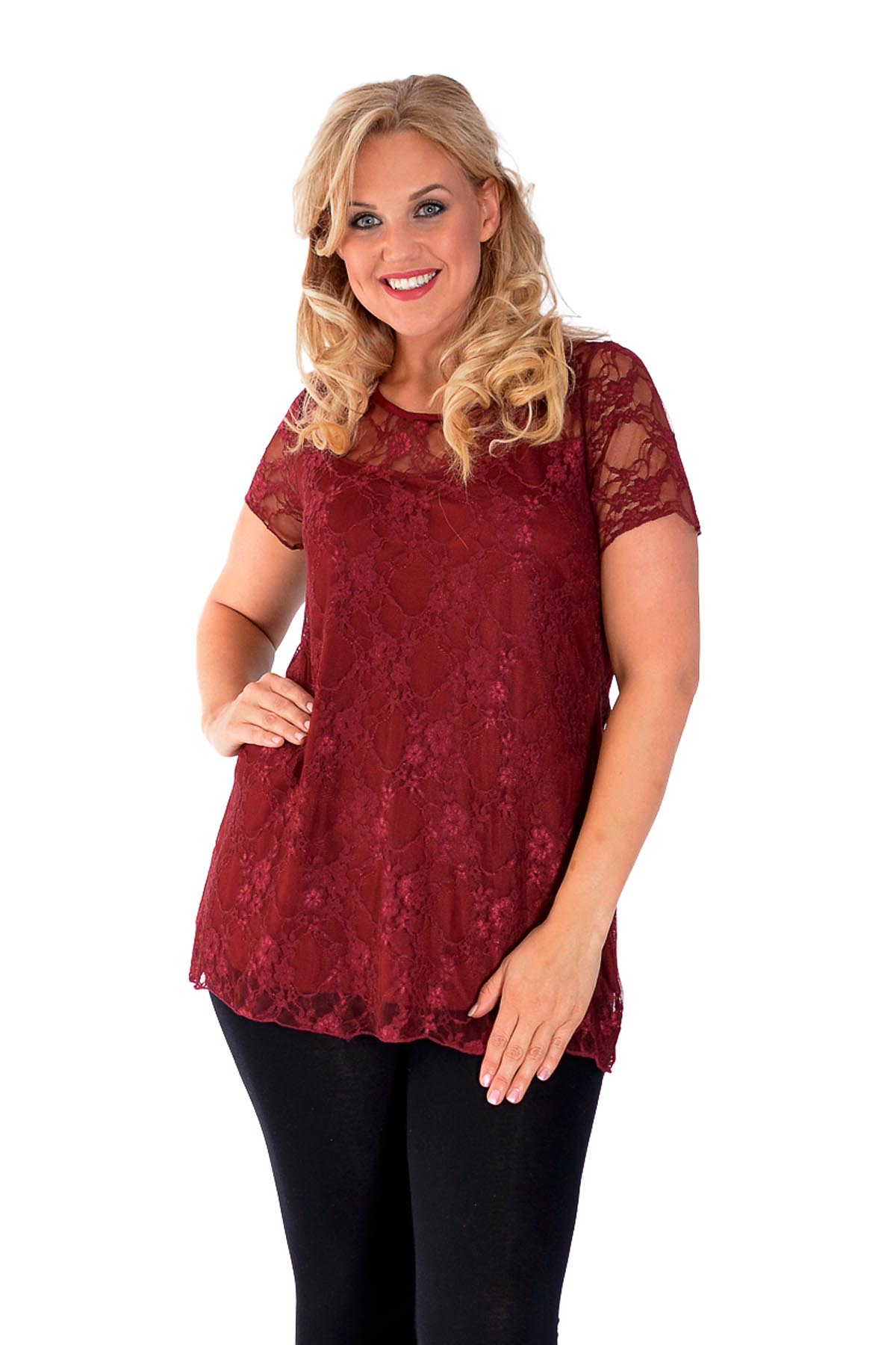 New Womens Top Plus Size Ladies Lace Lined Tunic Short