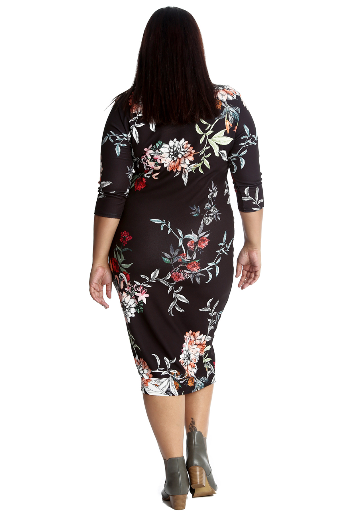 New Ladies Dress Plus Size Womens Floral Midi Knee Length Bodycon Style Nouvelle