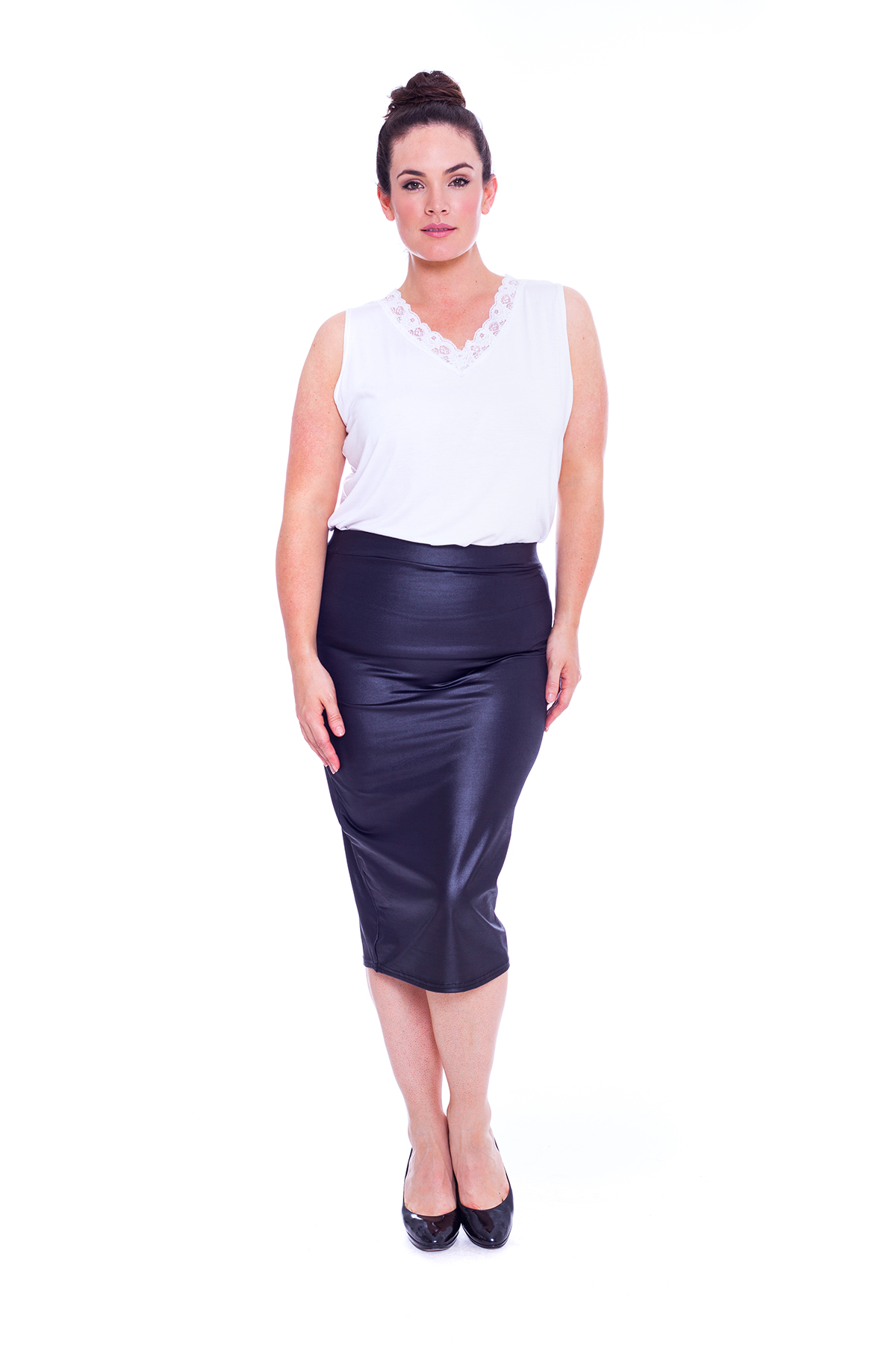 new womens skirt plus size bodycon midi pencil pvc
