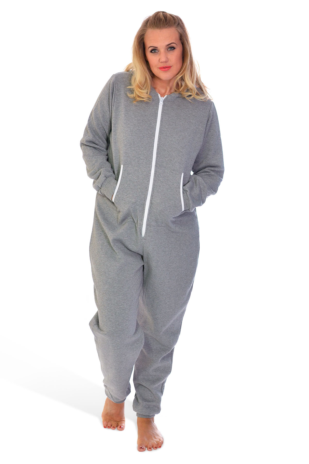 new ladies mens plus size all in one body warm jumpsuit fleece