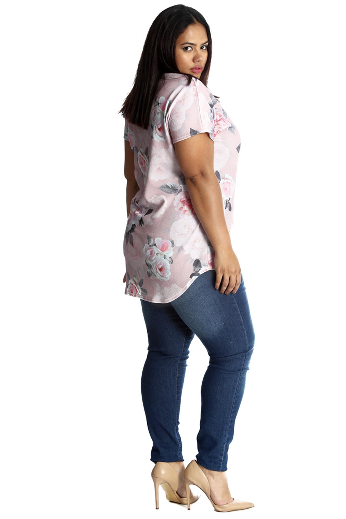 New Womens Plus Size Top Ladies Floral Print Crepe Choker Neck T-Shirt Nouvelle