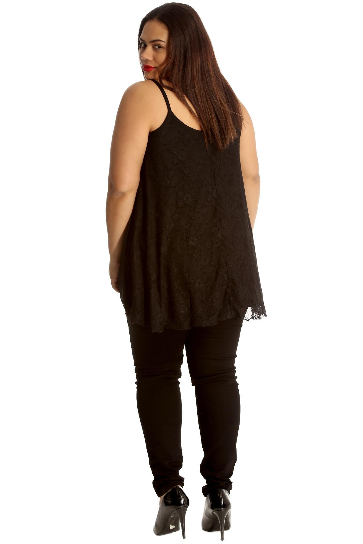 Womens Top Ladies Camisole Tank Top Floral Lace Summer Tunic Plus Size Nouvelle