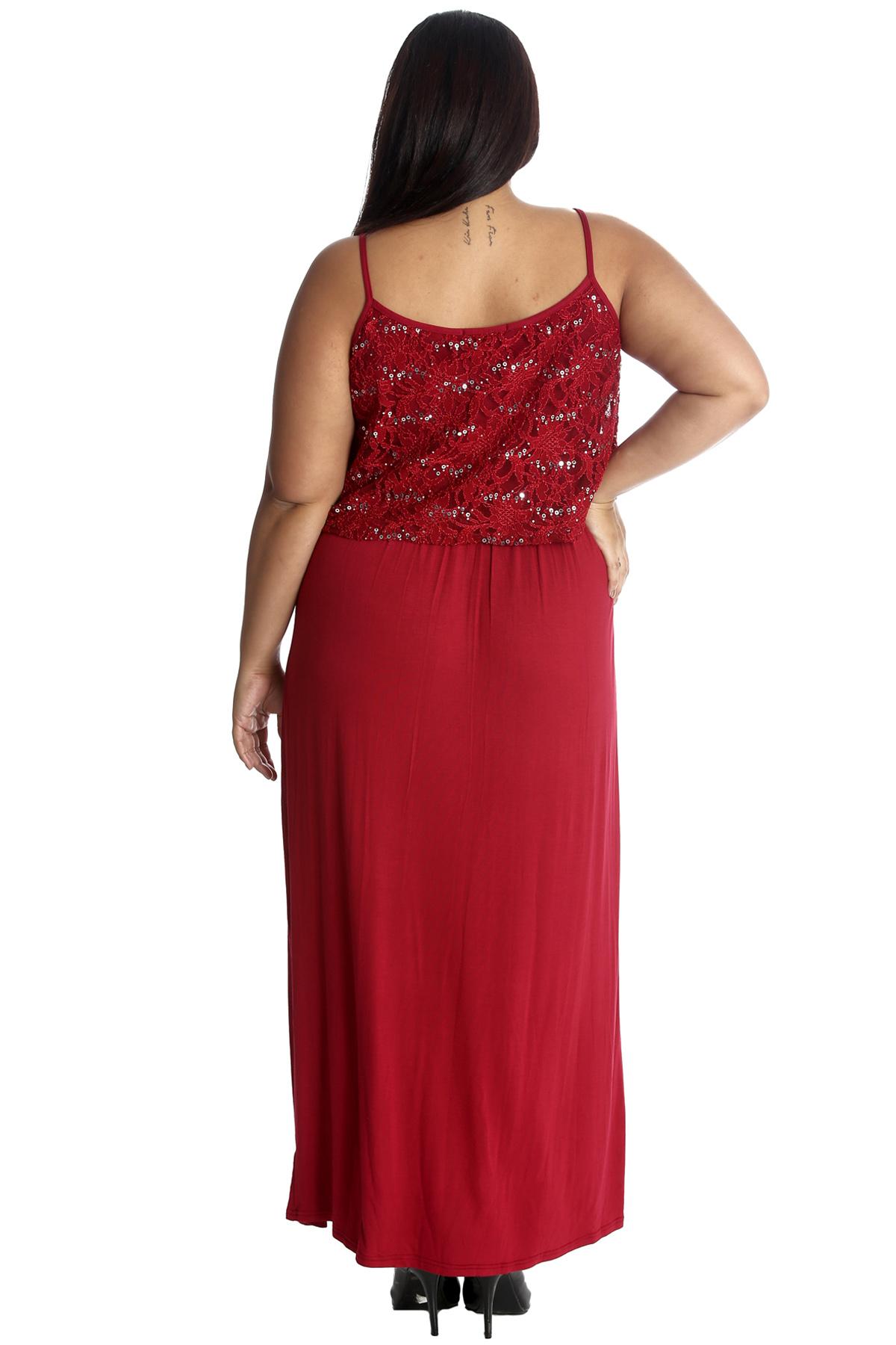 New Womens Plus Size Maxi Dress Ladies Floral Lace Sequin ...