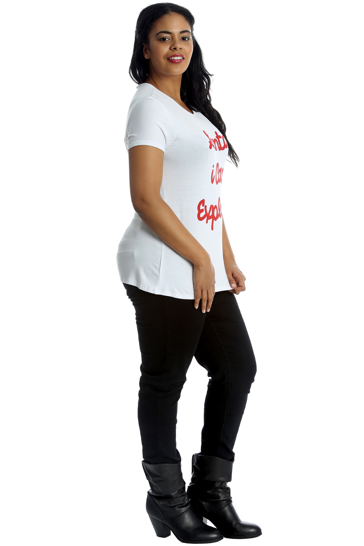 New Womens Plus Size T-Shirt Ladies Top Santa I Can Explain Print Sale Christmas