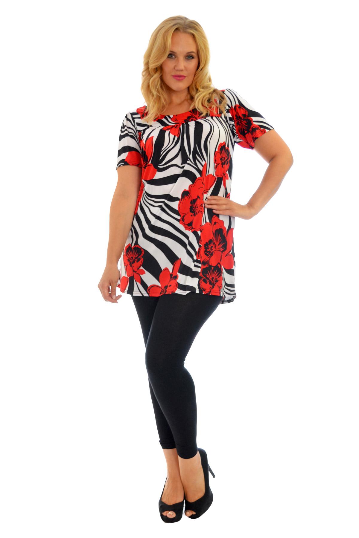 Womens Top Floral Print Ladies Tunic Short Sleeve Smock Shirt Plus Size Nouvelle
