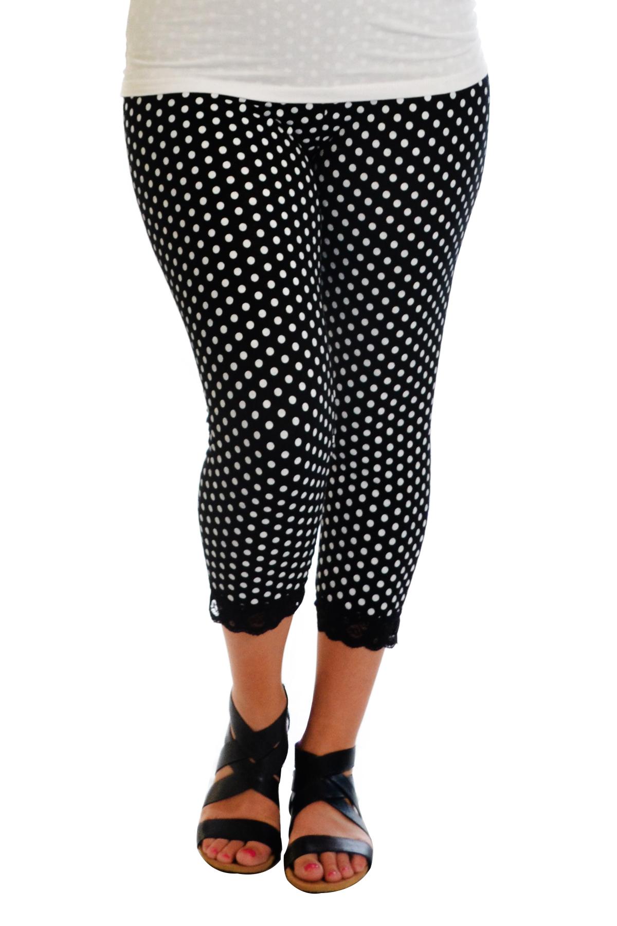 Womens New Leggings Plus Size Ladies Polka Dot Lace Trim ...