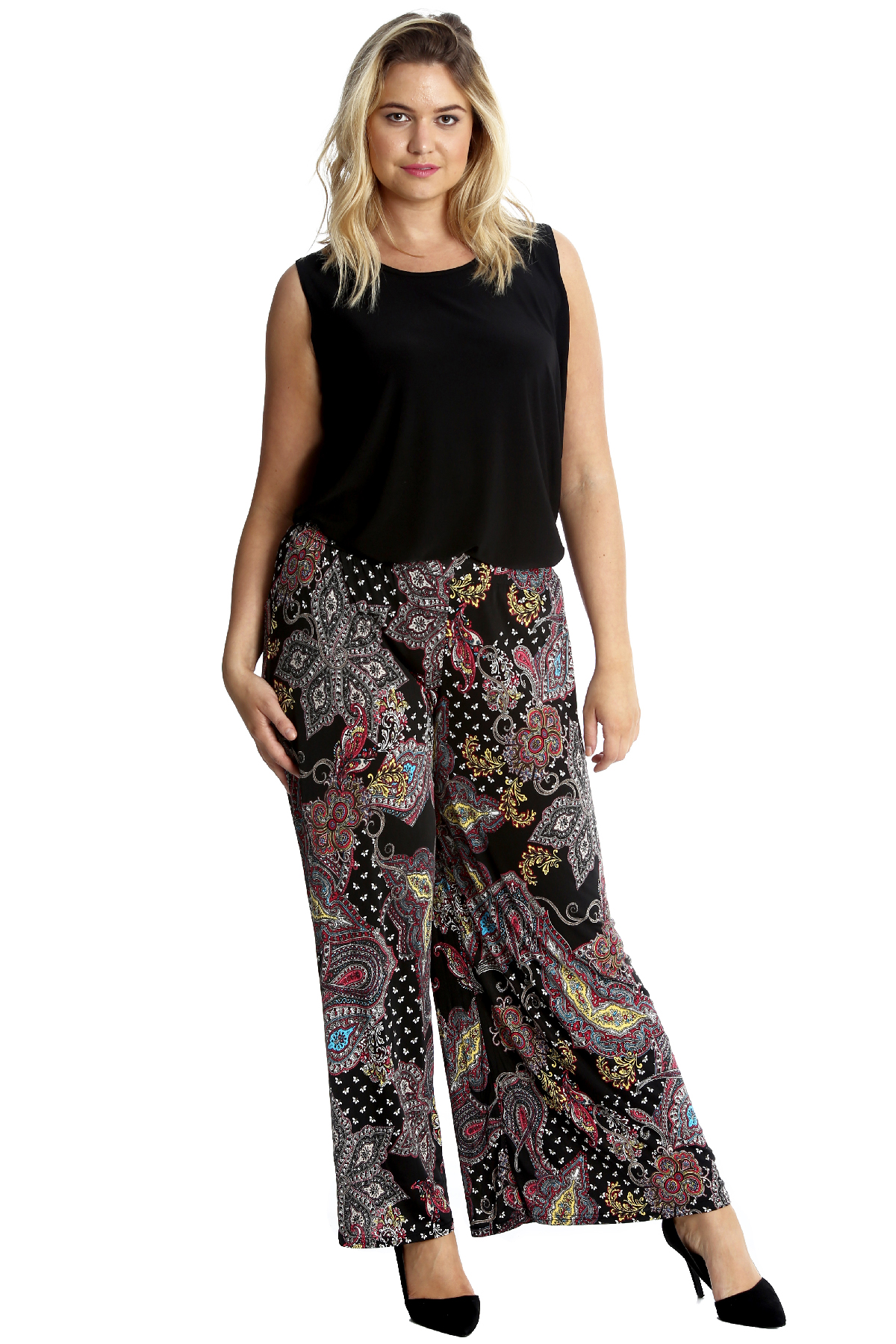 New Womens Plus Size Trousers Ladies Paisley Print Palazzo Pants Flared Wide Leg