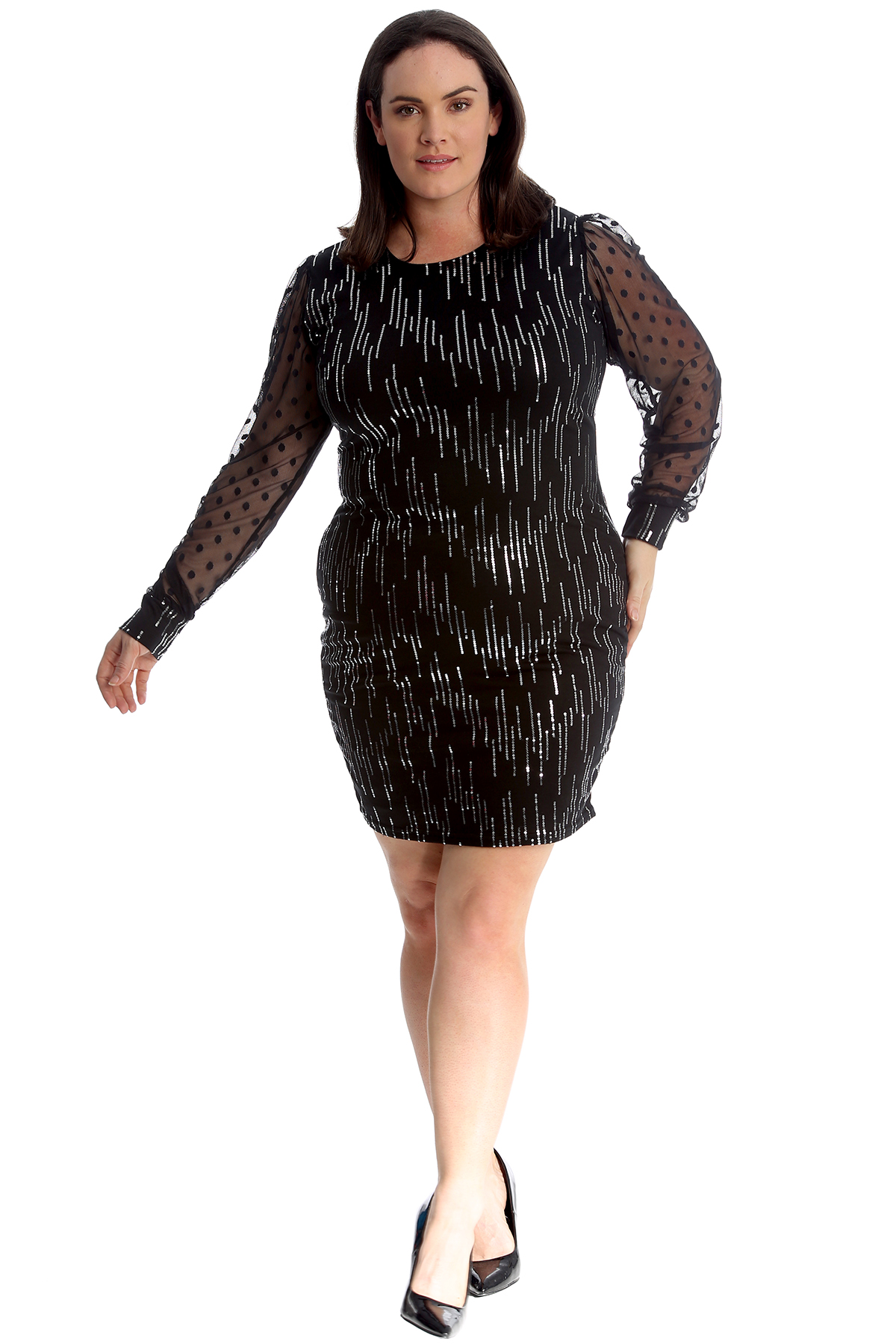 Robe Femme Taille Plus Femmes Moulante Sequin Midi en mousseline de soie manches Parti nouvelle