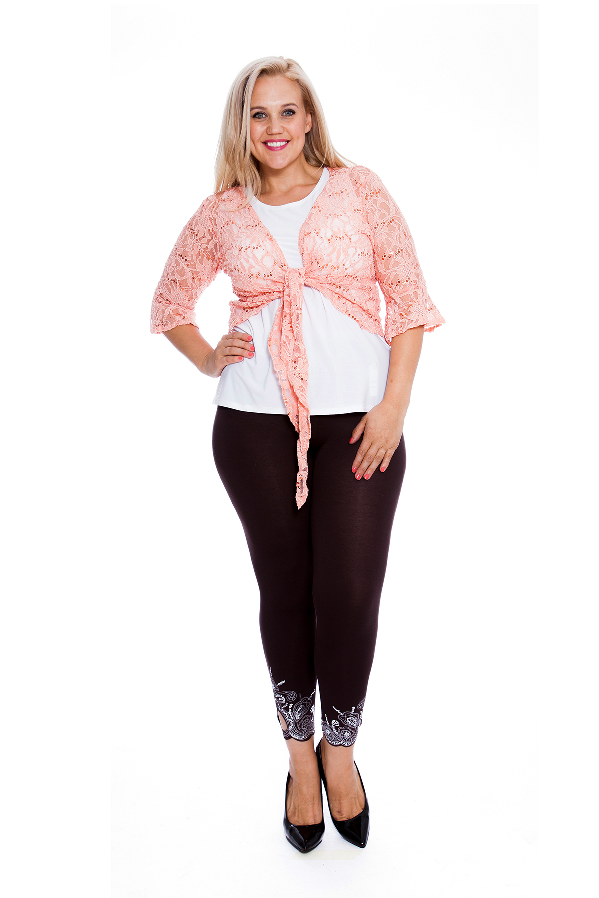 New Womens Shrug Plus Size Ladies Floral Lace Front Tie Sequin Top Nouvelle