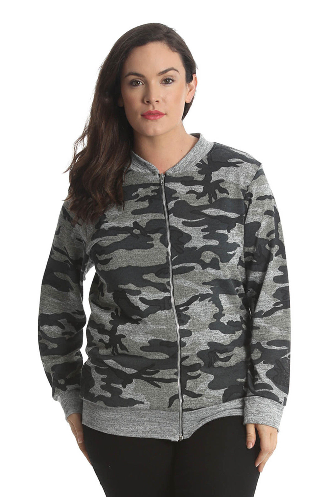 New Ladies Jacket Womens Bomber Jacket Army Camouflage Print Plus Size Nouvelle | EBay