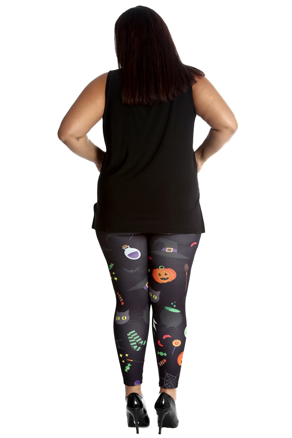New Womens Plus Size Leggings Ladies Halloween Ghost Trick Treat Broom Nouvelle