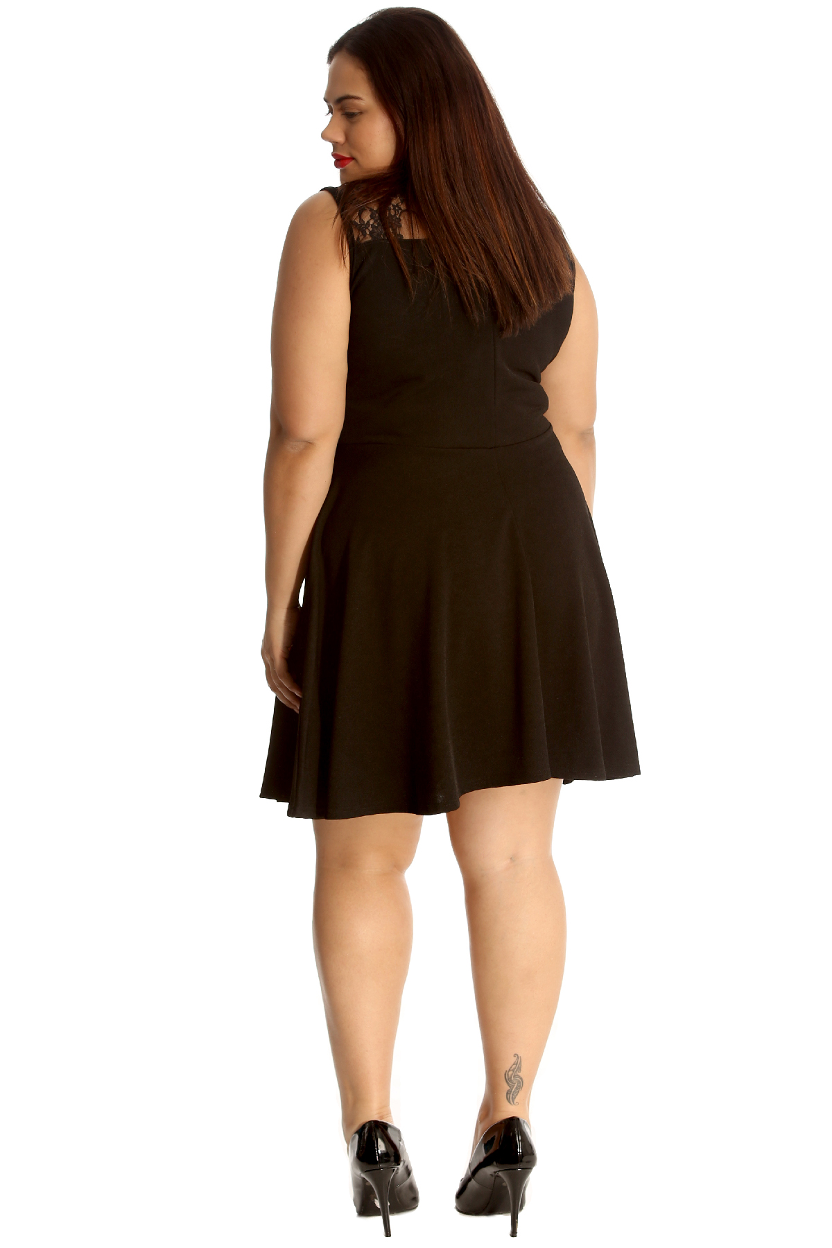 New Ladies Plus Size Dress Skater Womens Lace Neck Sleeveless Flared Nouvelle
