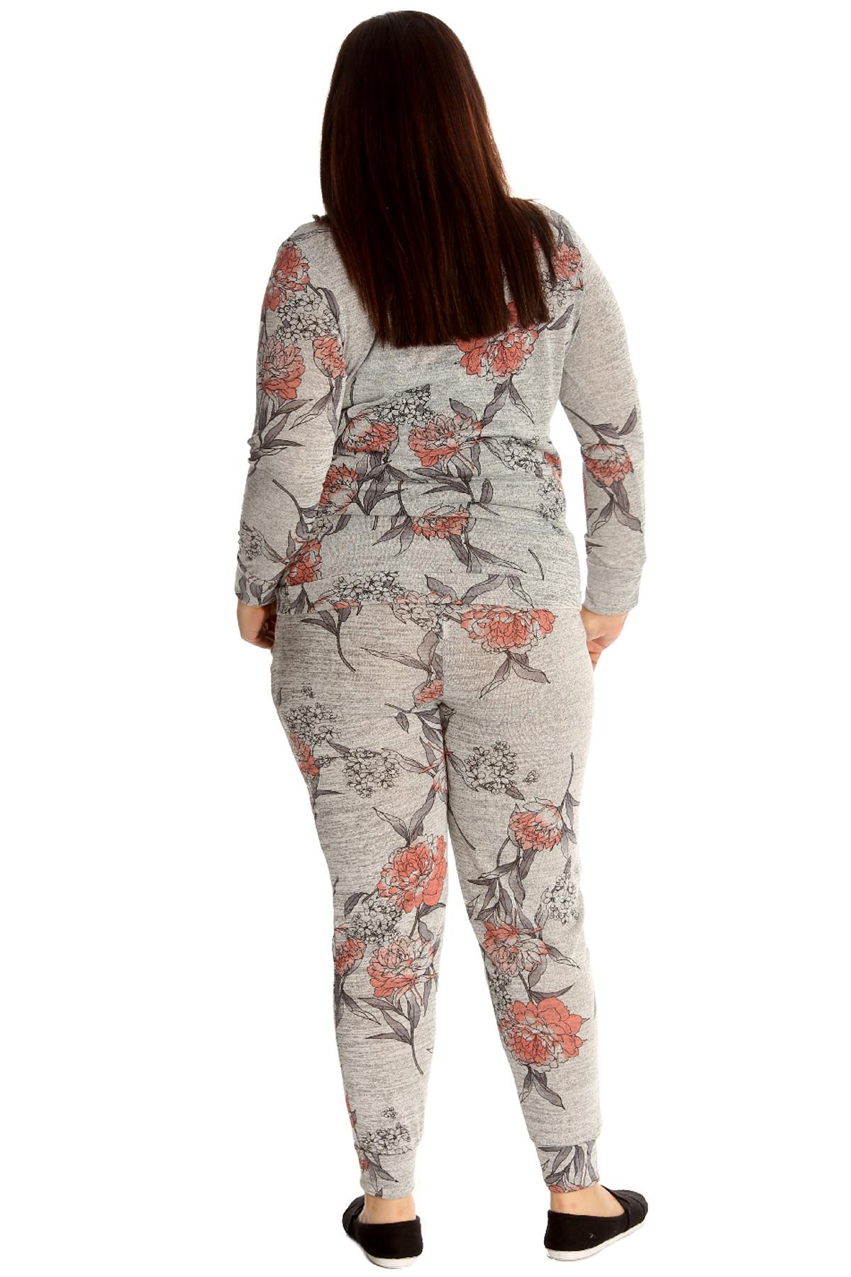 Neu Frauen Übergröße Trainingsanzug Damen Blumen Druck Knöpfe Sweat Shirt Warm