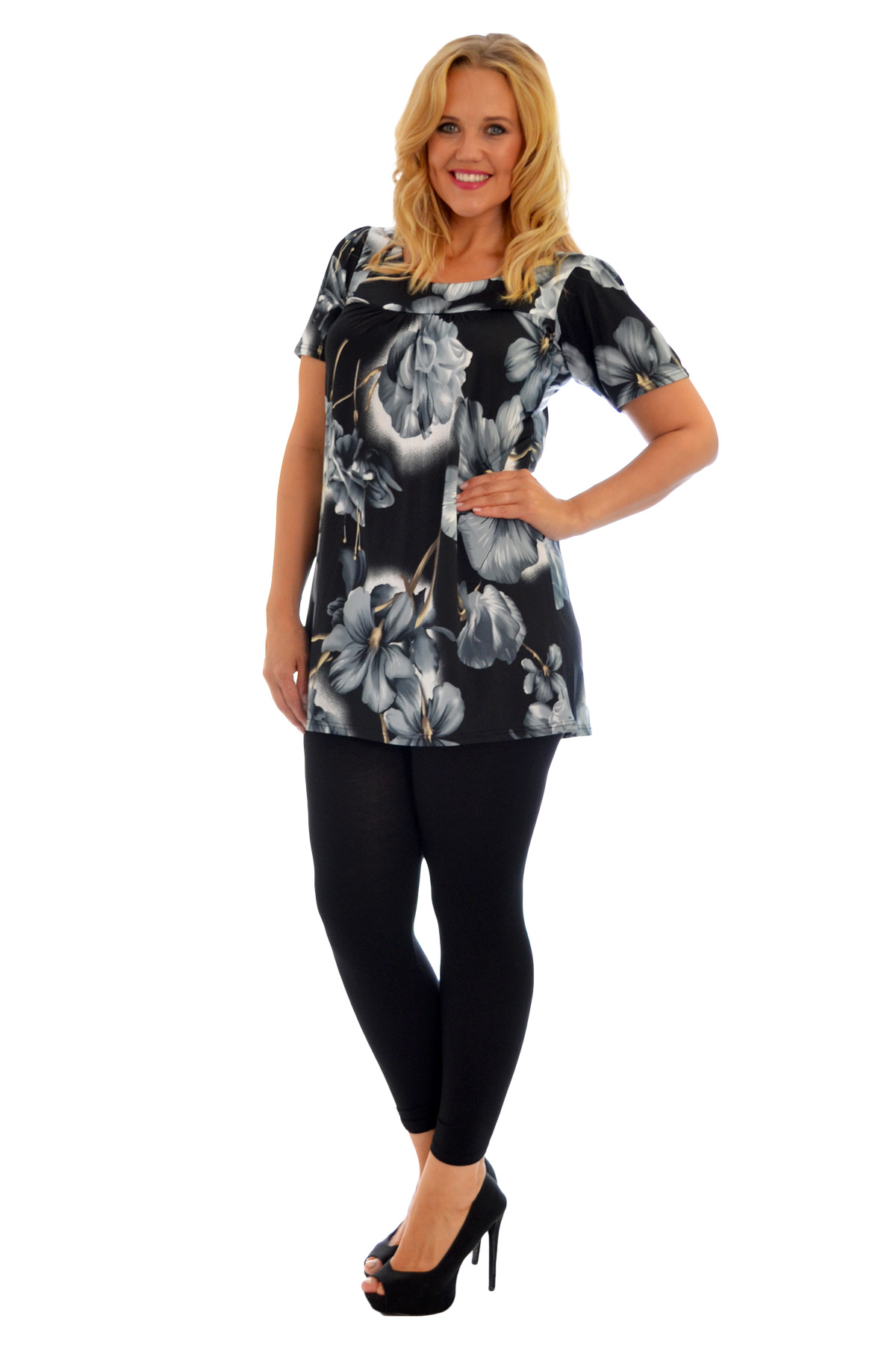 Womens Top Floral Print Ladies Tunic Short Sleeve Shirt Smock Plus Size Nouvelle