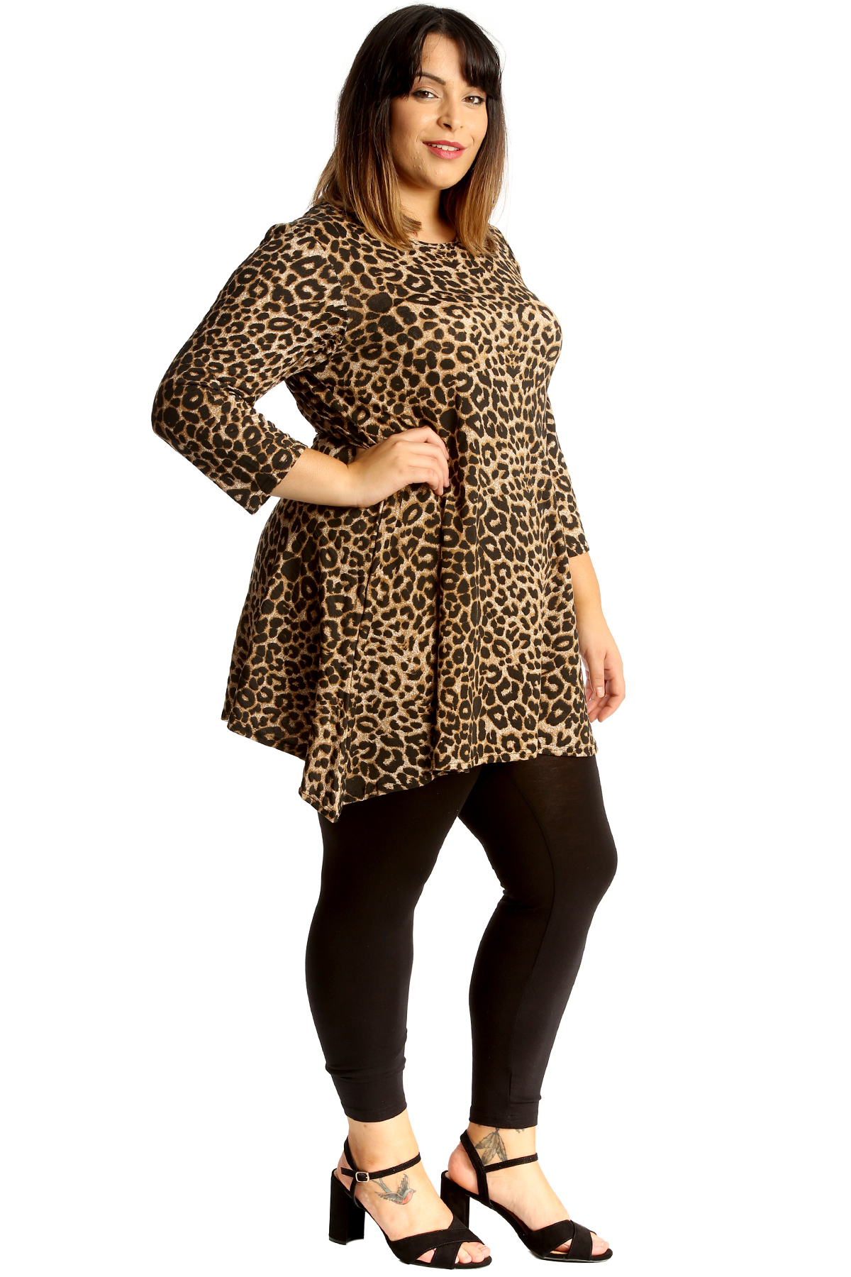 New Womens Plus Size Top Ladies Animal Leopard Print Tunic Swing Skater Style