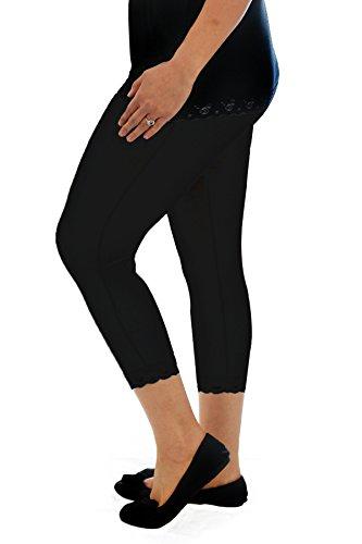 New Ladies Leggings Womens Cotton Lace Trim Warm Cropped Plus Size Nouvelle
