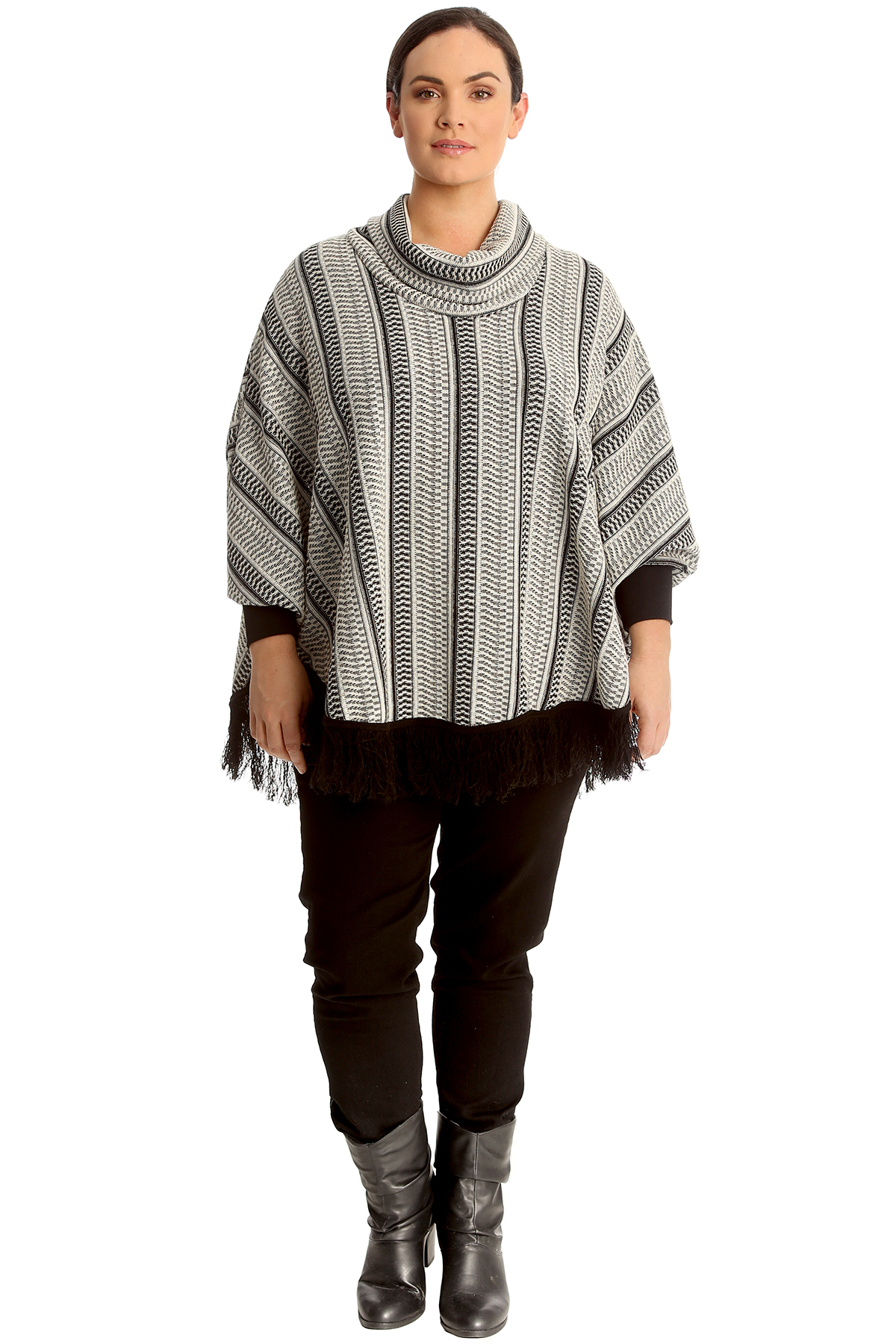 New Womens Plus Size Poncho Ladies Textured Cowl Neck Ribbed Top Frill Hem Warm