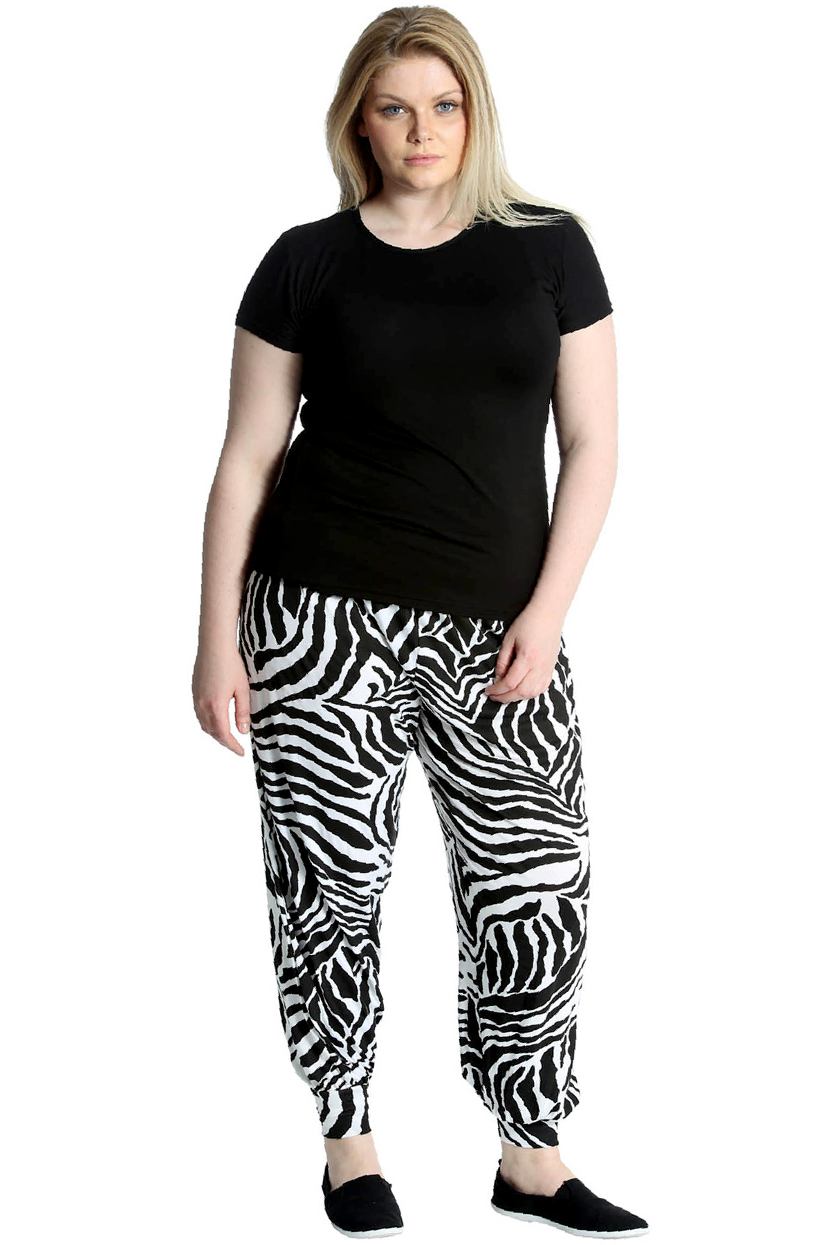 New Womens Plus Size Trouser Ladies Harem Zebra Animal Print Ali Baba Nouvelle