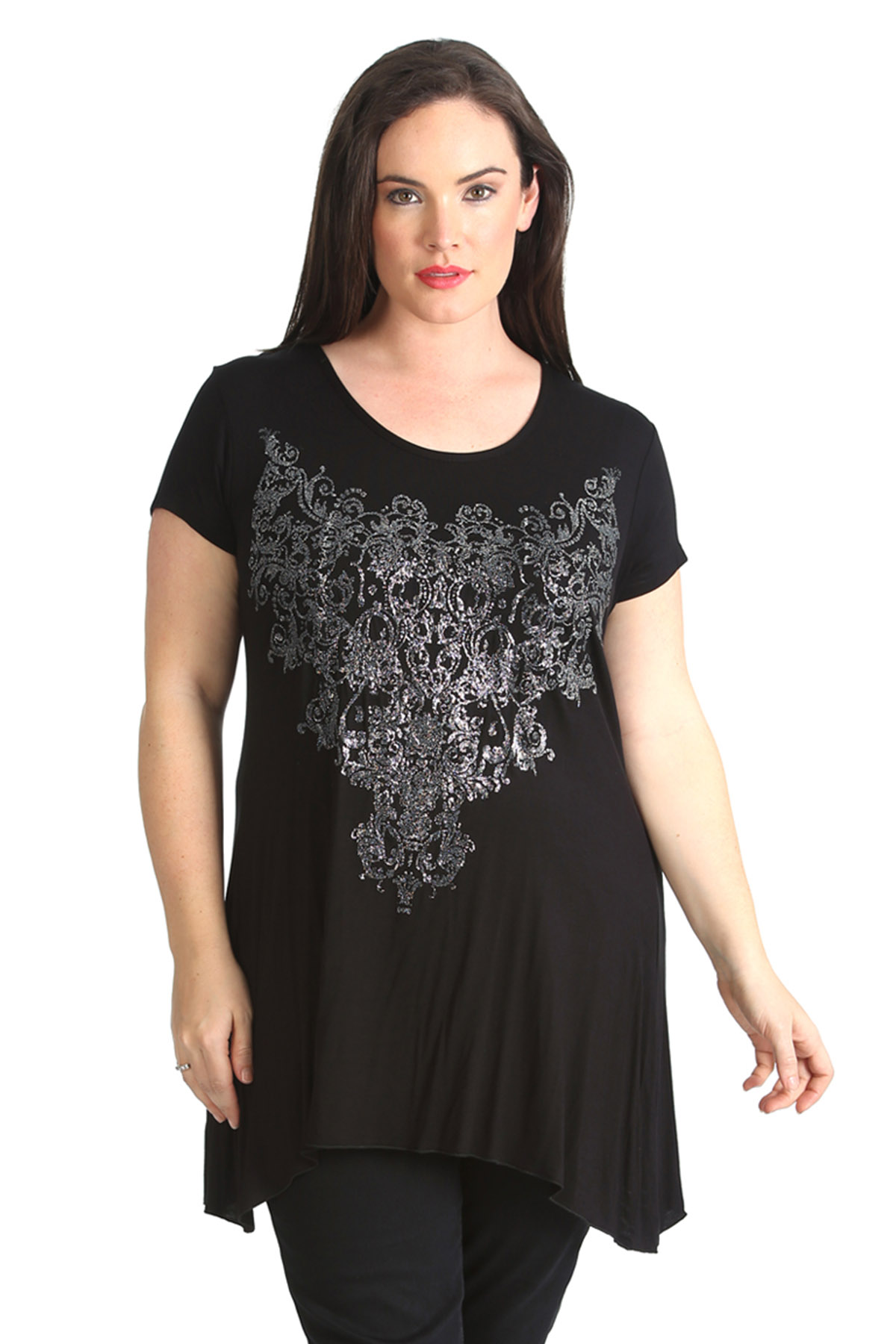 new plus size top womens t shirt beaded sequins