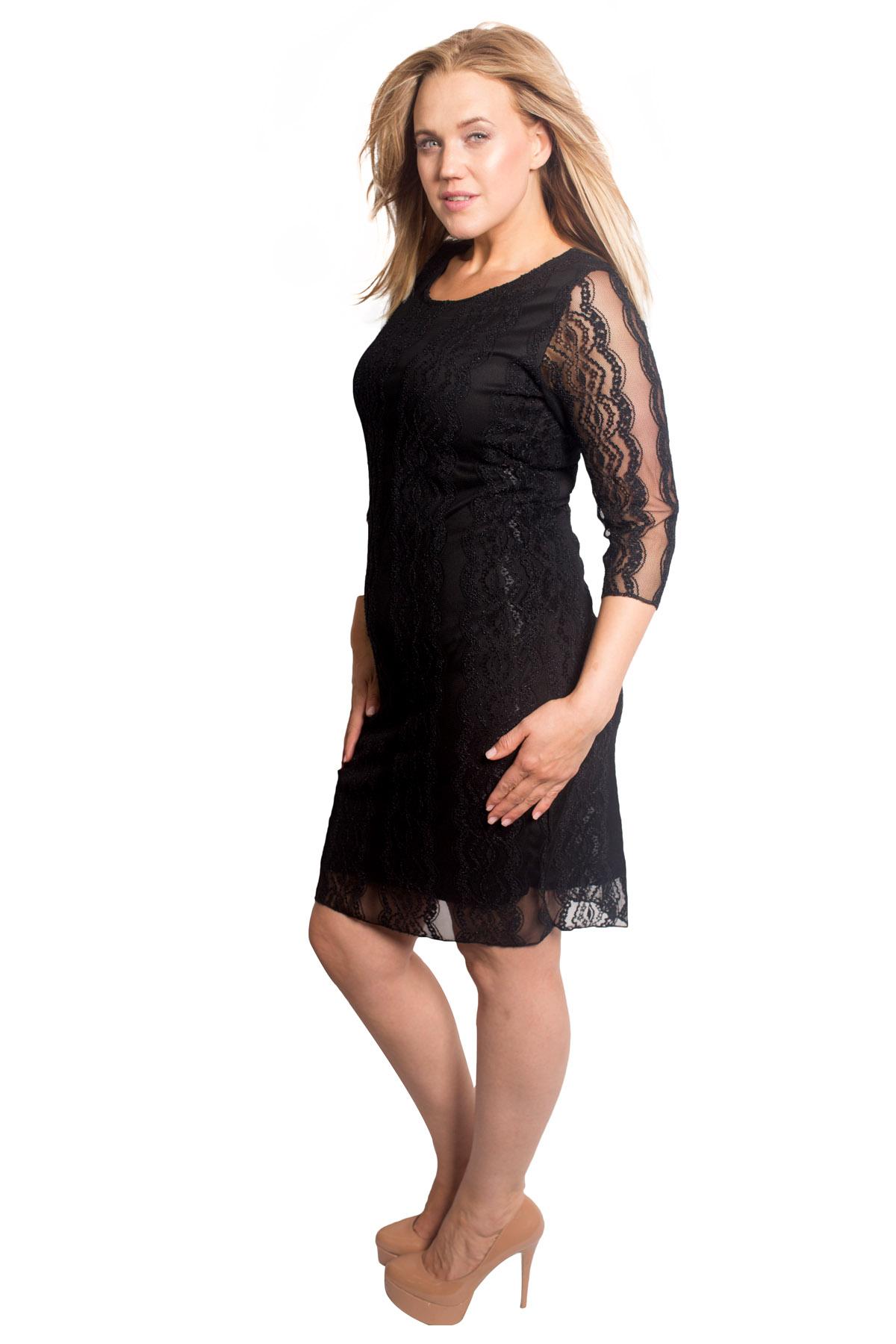 Neu Damen Übergröße Kleid Frau Spitze Krause Bodycon 3//4 Hülsen Midi Nouvelle