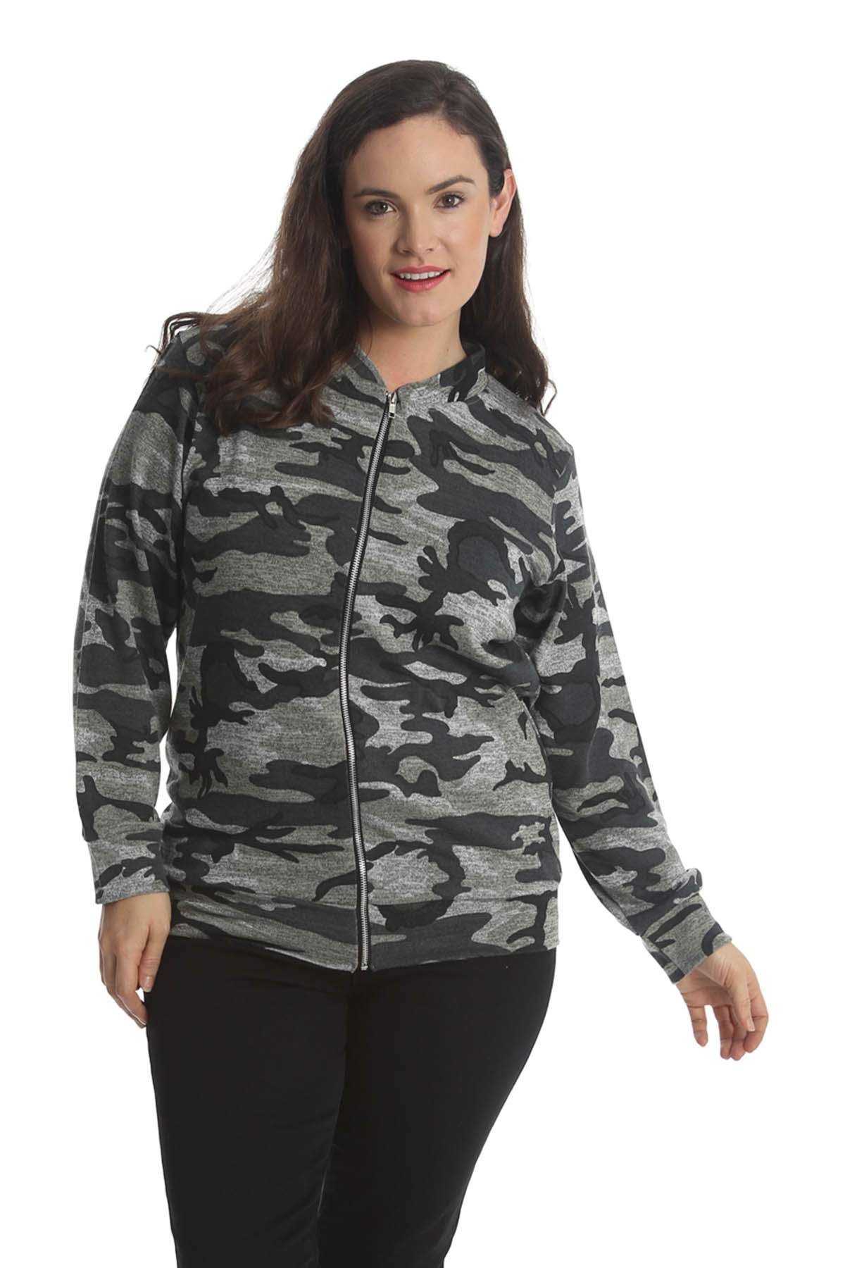 New Ladies Jacket Womens Plus Size Bomber Jacket Army ...
