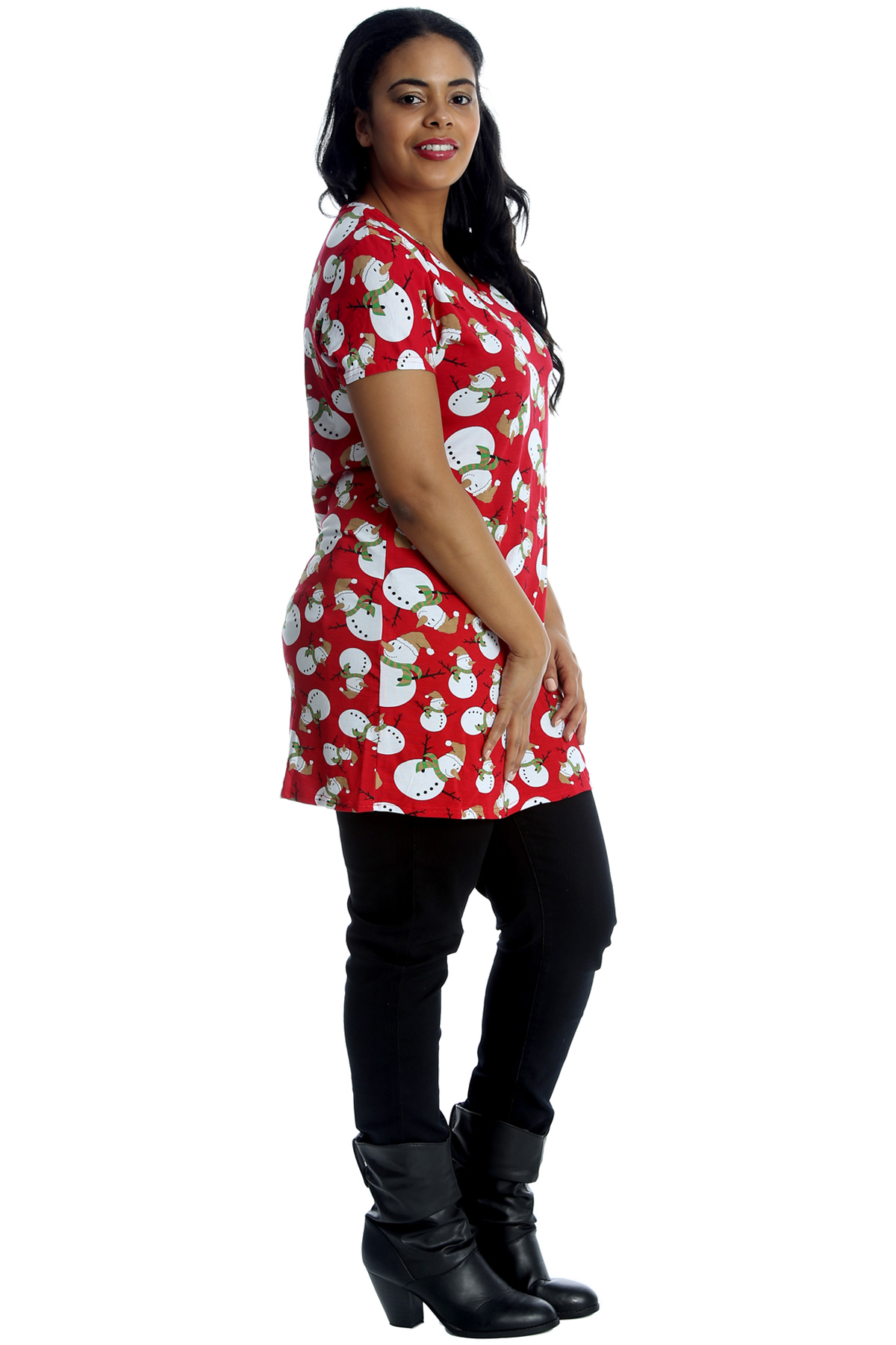 New Womens Plus Size T-Shirt Ladies Snowman Christmas Print Top Novelty Party