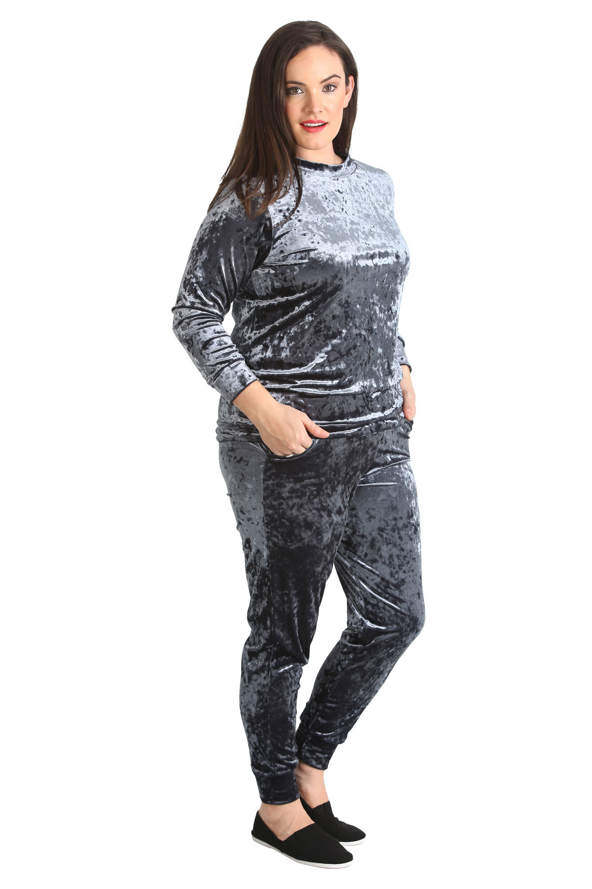new womens tracksuit plus size ladies velvet top & bottoms cuffed