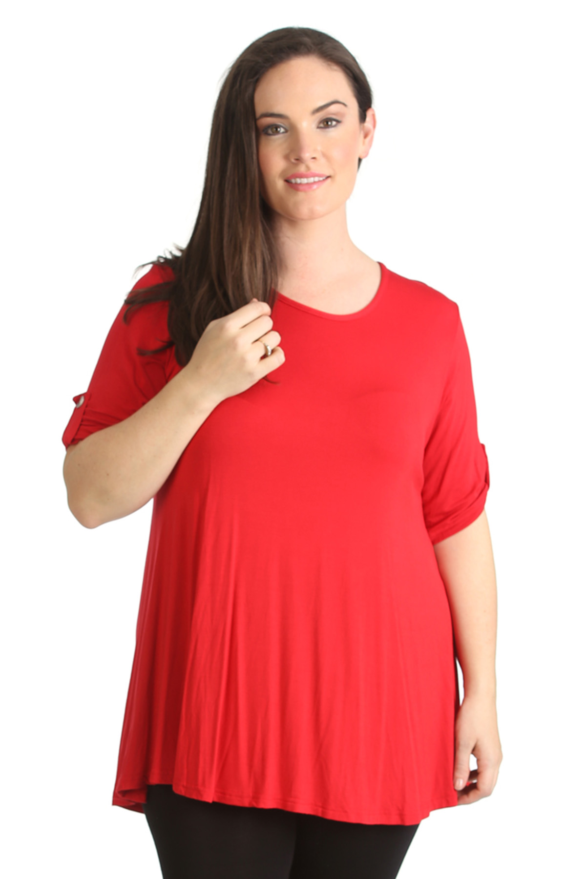 New womens plus size top ladies plain tunic 3 4 button for 3 4 sleeve t shirts plus size