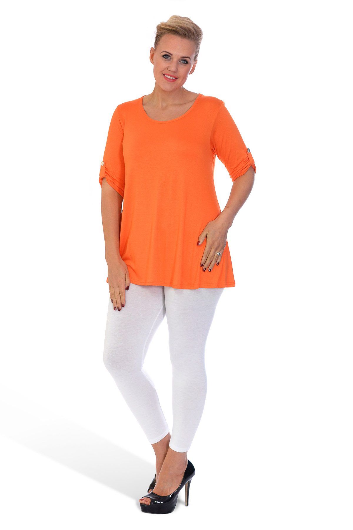 New womens plus size top ladies plain tunic 3 4 button for Plus size 3 4 sleeve tee shirts