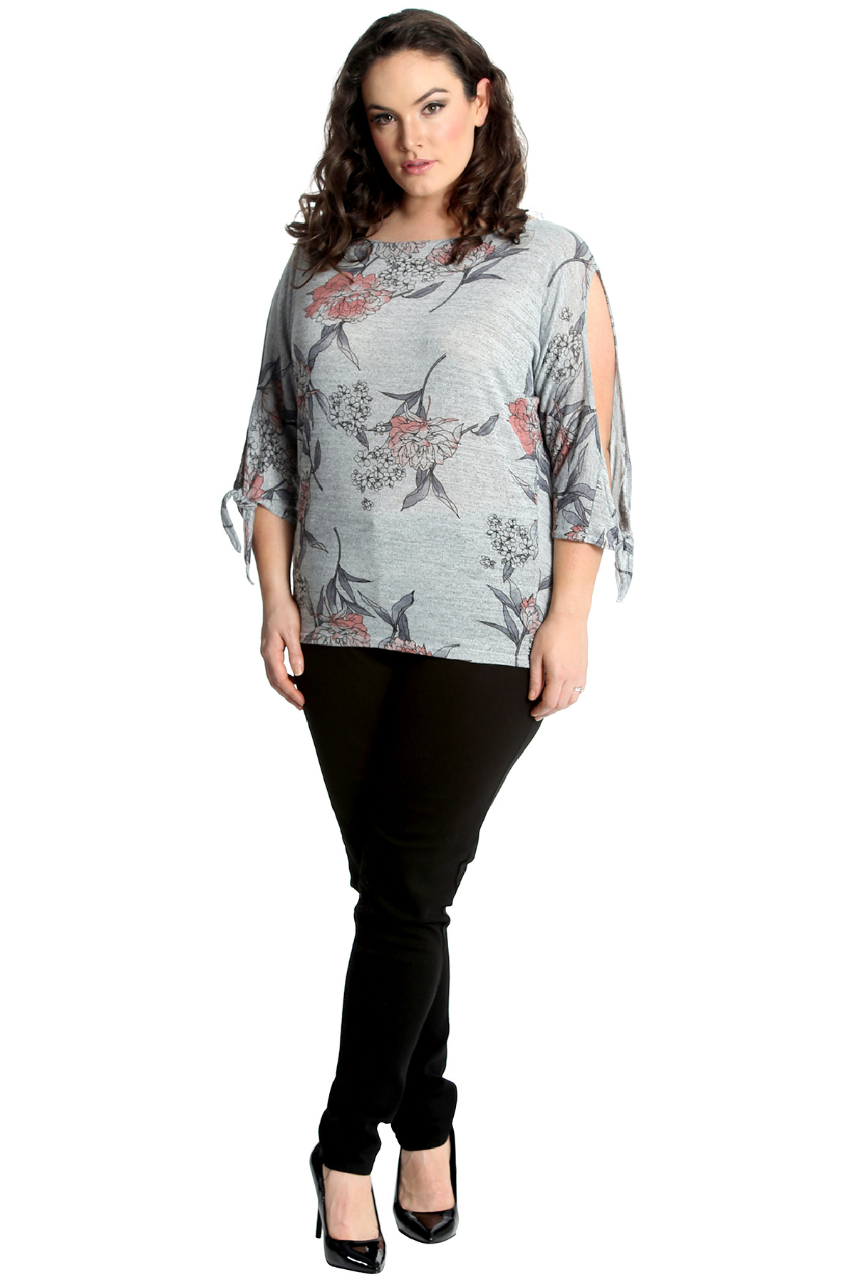 New Womens Plus Size Top Ladies Floral Print Cut Out Cold Sleeve Gypsy Nouvelle