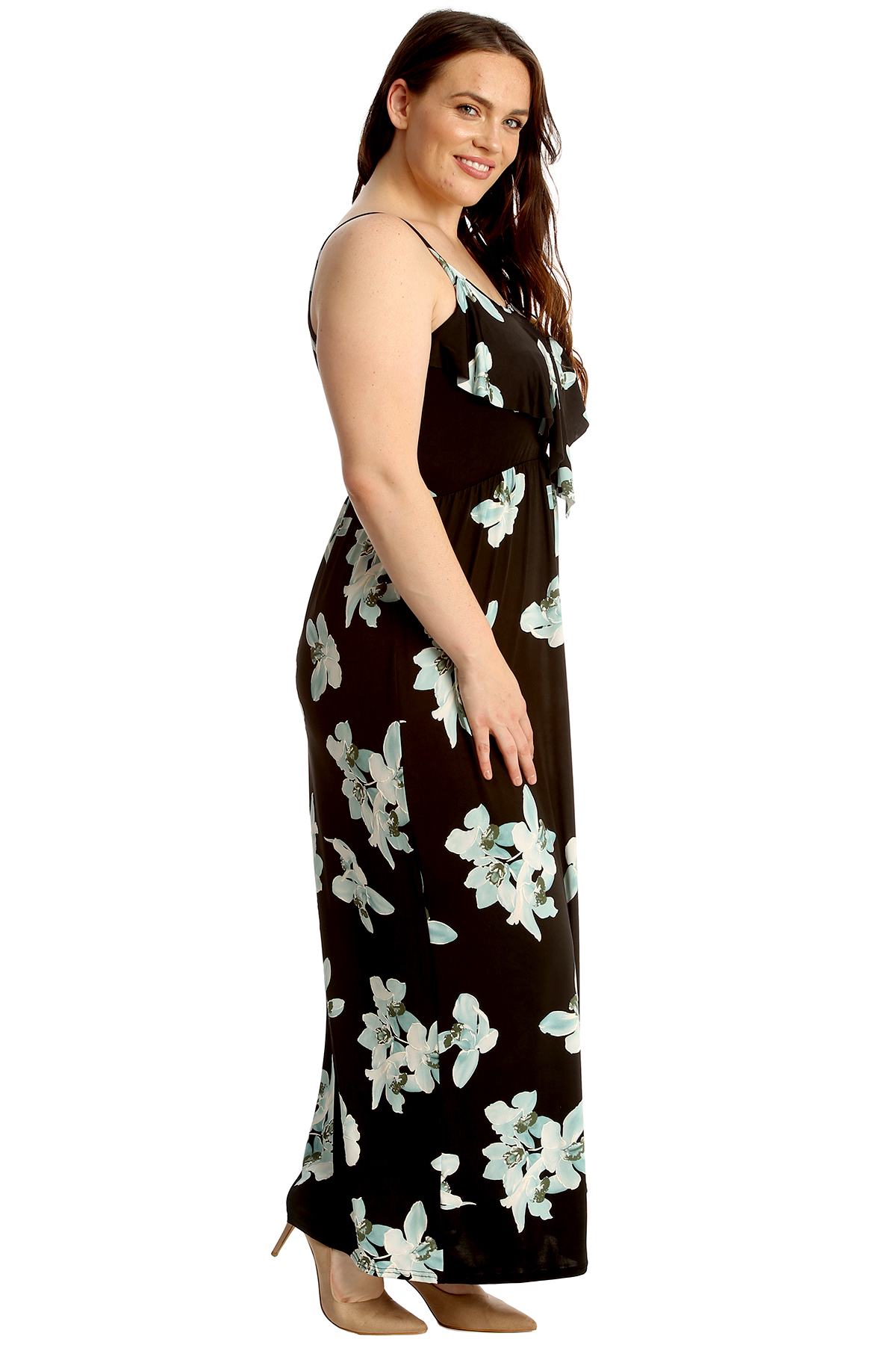 New Womens Plus Size Maxi Dress Ladies Floral Lily Print Frill Top Sleeveless