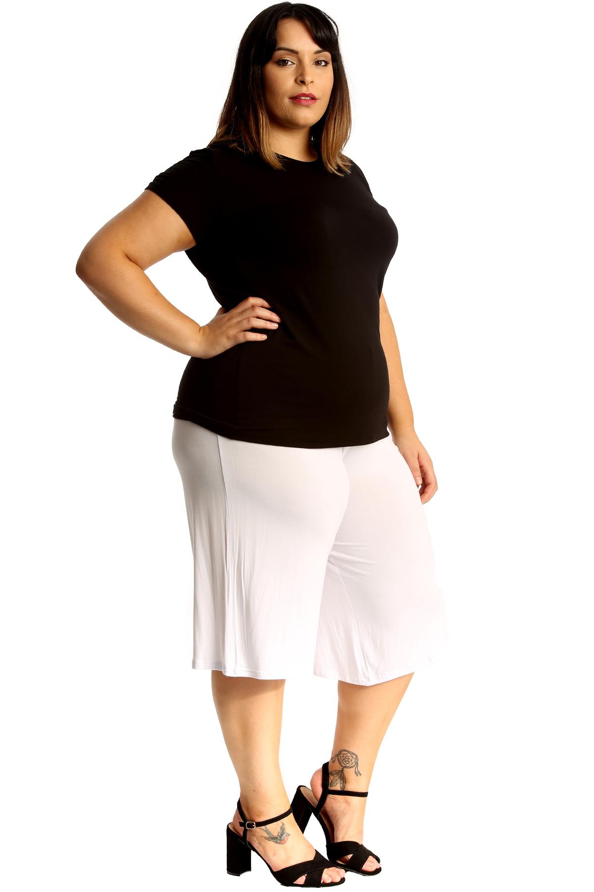 New Womens Plus Size Culottes Ladies Plain Shorts Palazzo Elastic Pants Summer