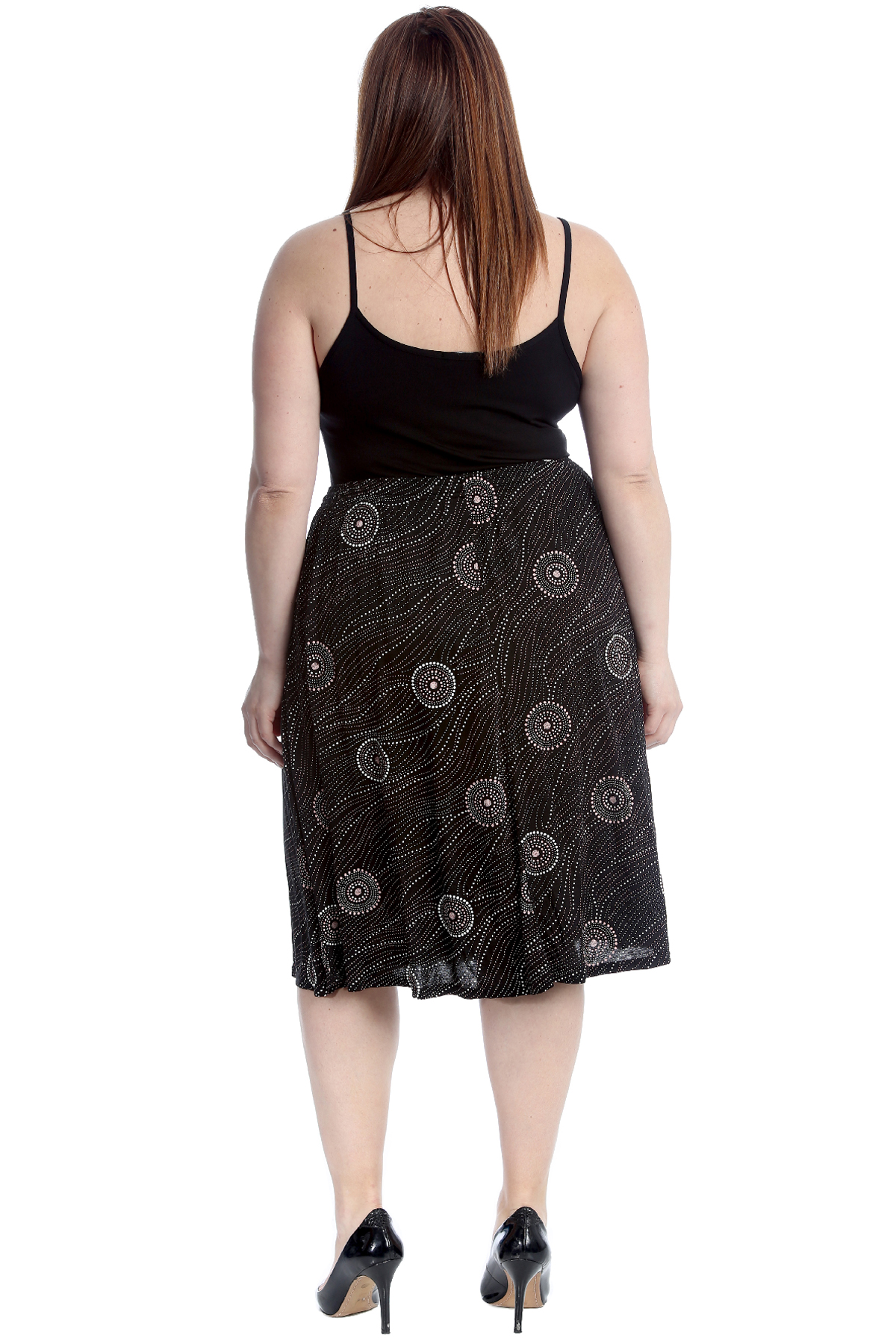 New Womens Skirt Plus Size Ladies Abstract Circle Striped Print Skater Knee Long