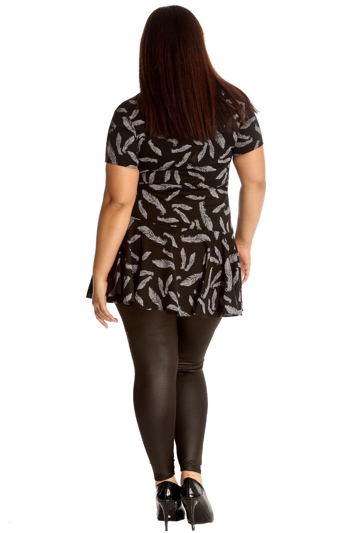 Nouveau Débardeur Grande Taille Tunique Robe Femmes Feuille Imprimé Haut à Basque Volants Style Court