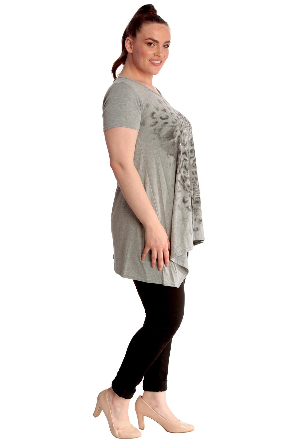 Ladies Top Womens Plus Size Leopard Print Sequin Glitter Asymmetric Nouvelle