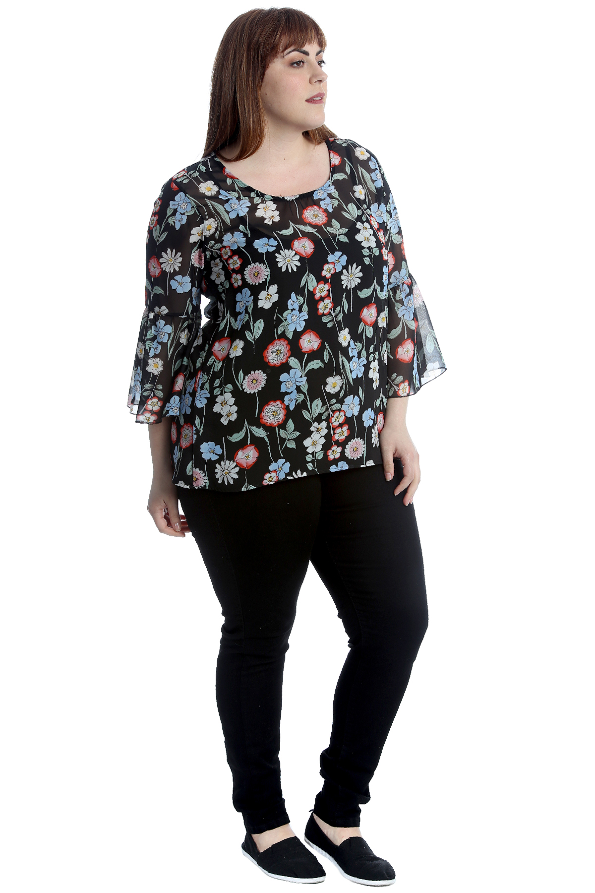 New Womens Plus Size Top Ladies Blouse Multi Floral Print Chiffon Frill Sleeves