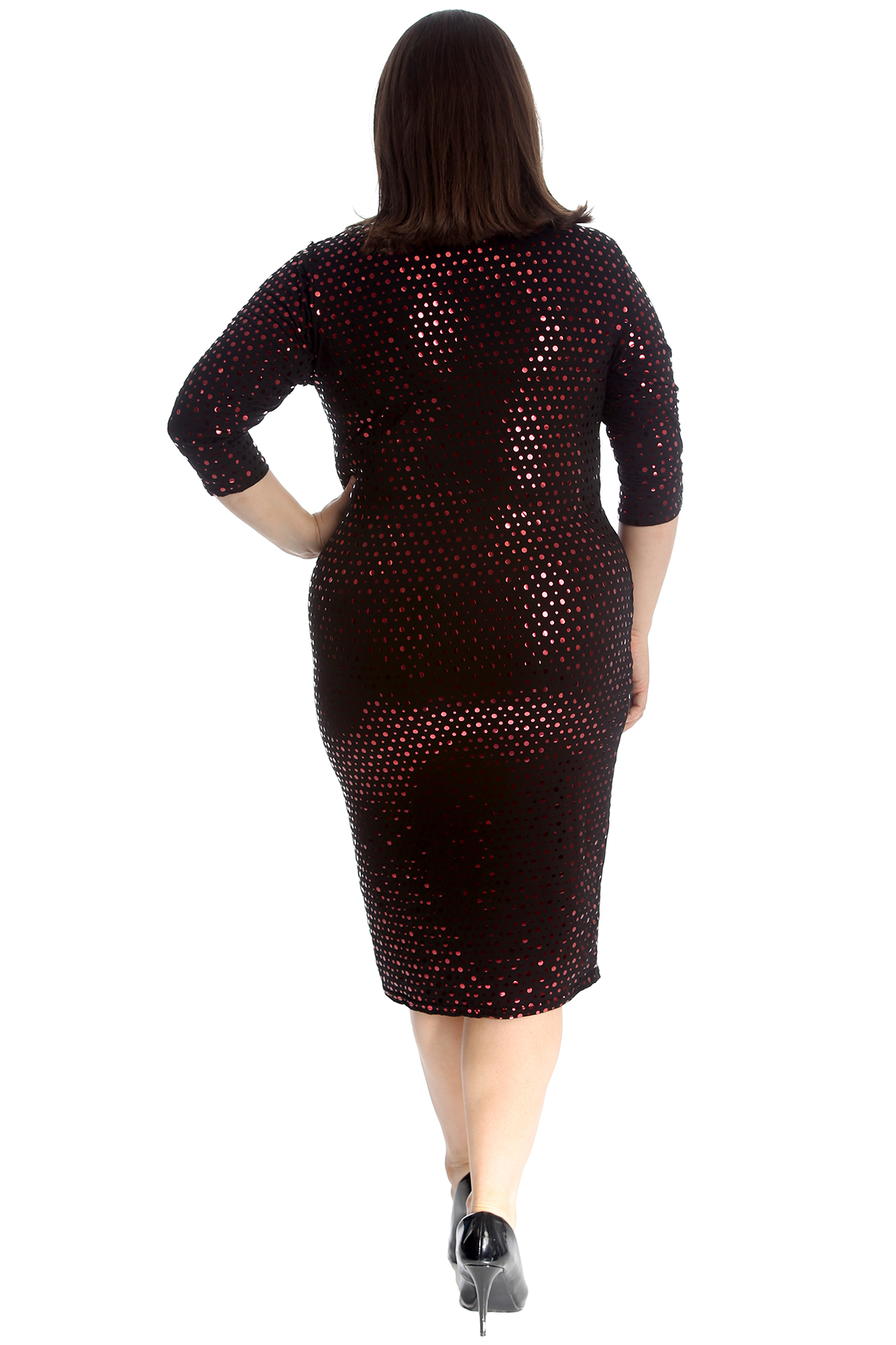 New Ladies Plus Size Womens Dress Polka Dot Foil Bodycon Midi Party Nouvelle