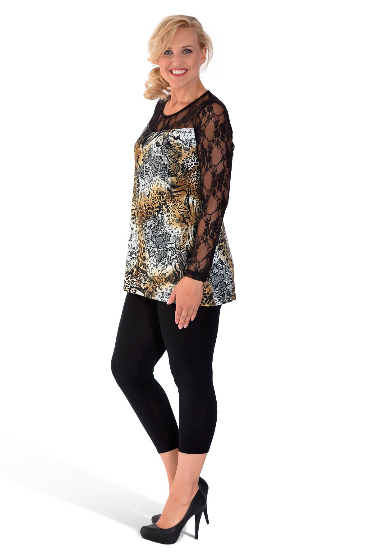 New Ladies Plus Size Top Womens Animal Print Tunic Black ...