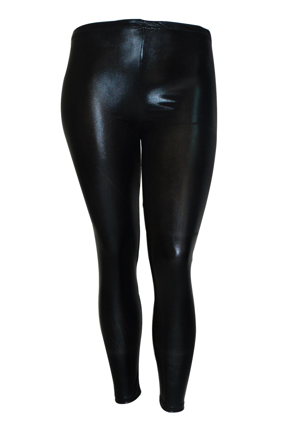 New Ladies Leggings Plus Size Womens Latex PVC Wet Look ...