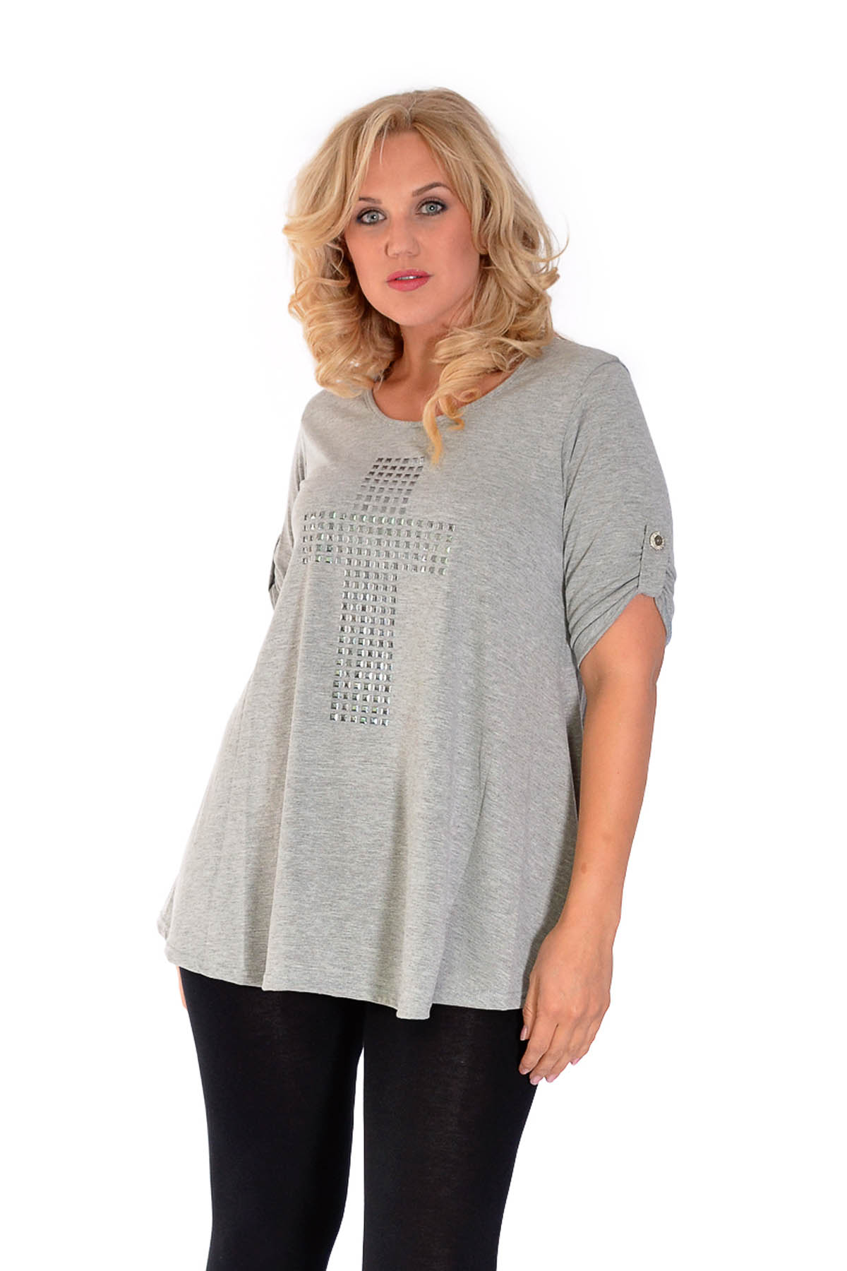 New Womens Tops Plus Size Ladies Cross Stud Short Button ...