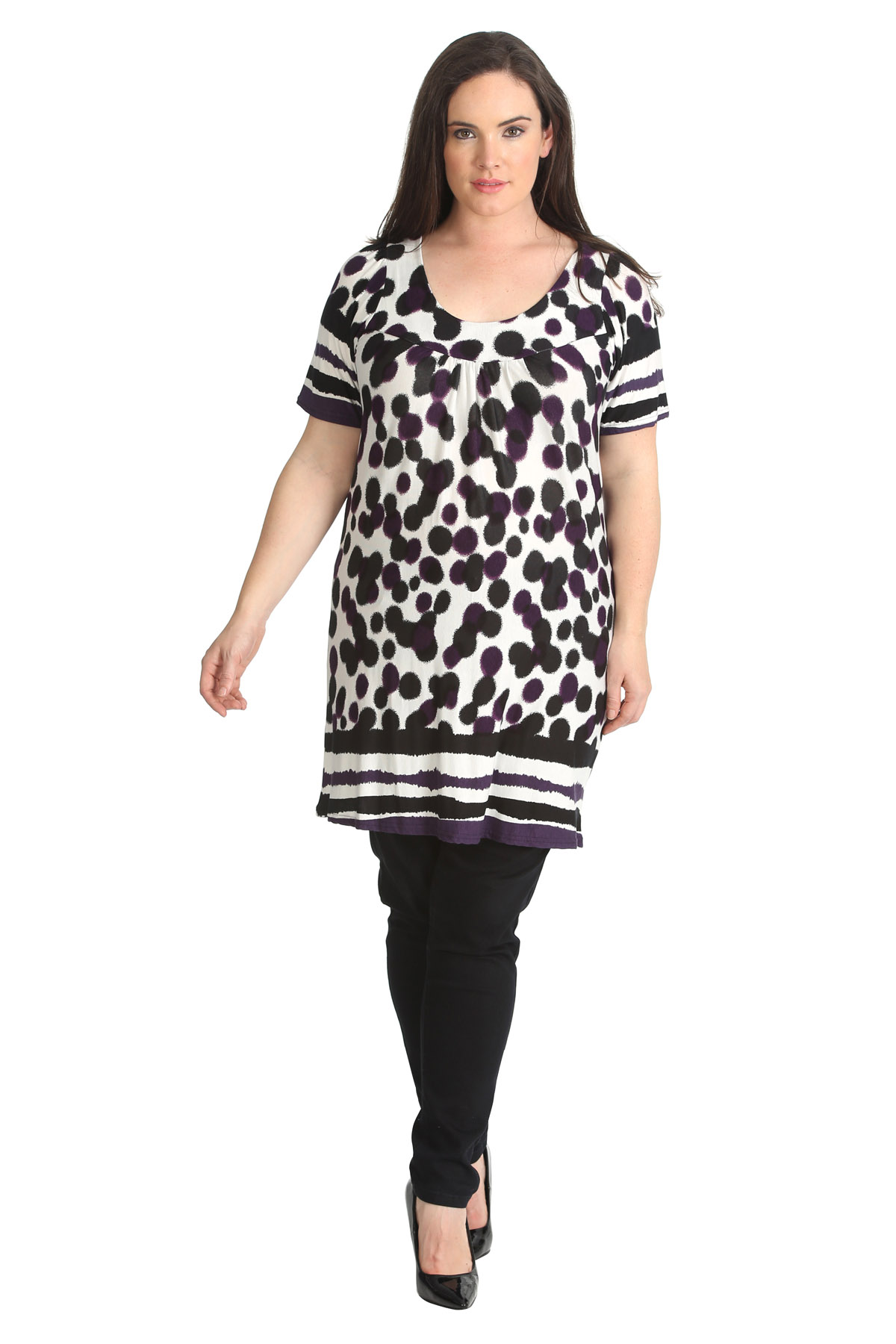 New Womens Plus Size Top Ladies Floral Print Tunic Stretch Smock Top Nouvelle