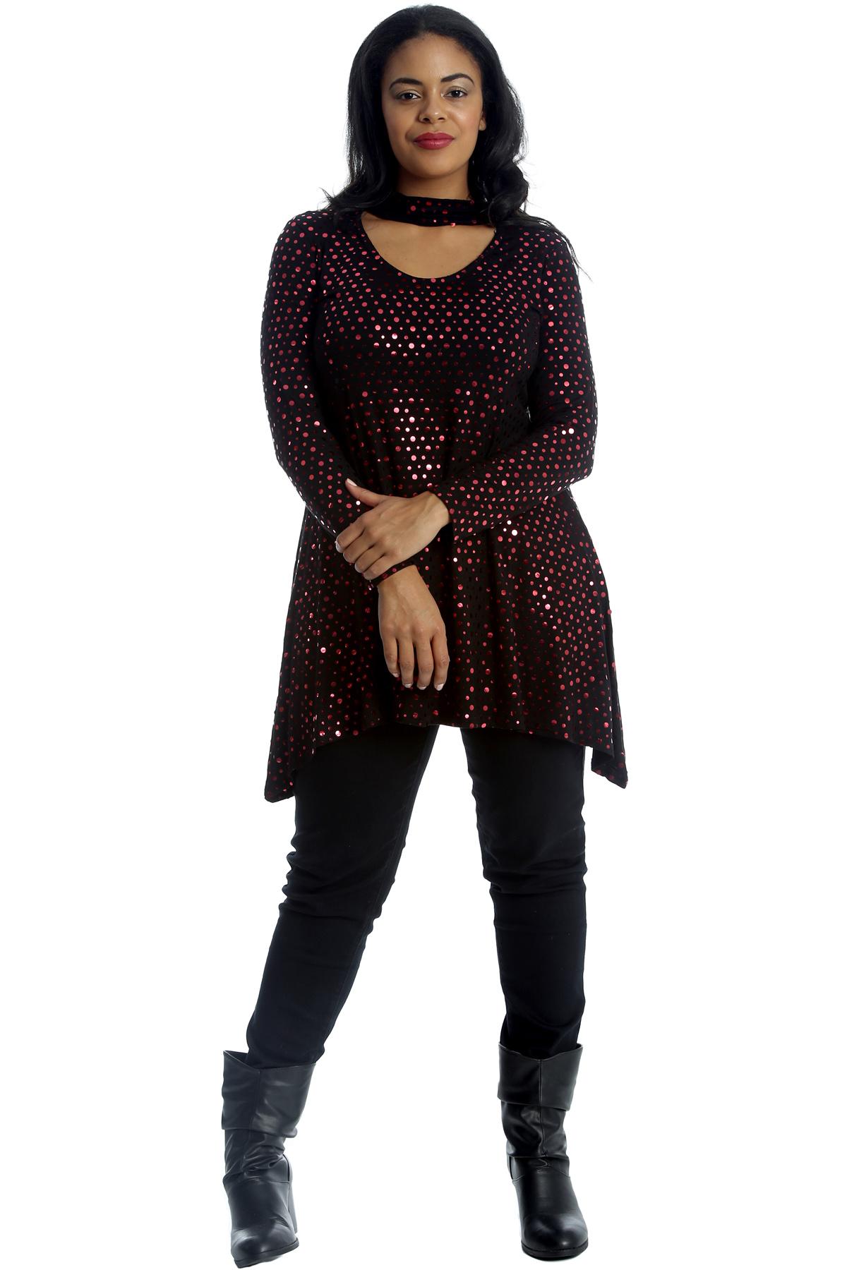 New Womens Top Plus Size Swing Style Polka Dot Foil Ladies Tunic Choker Neck