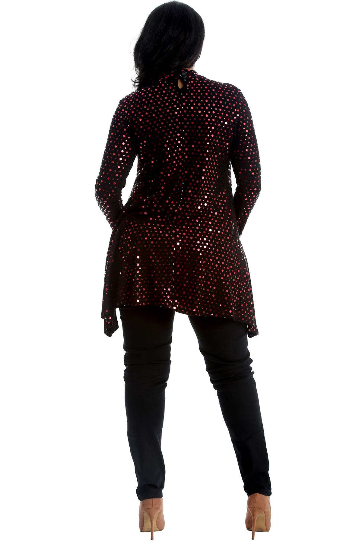 New Womens Top Plus Size Swing Style Ladies Polka Dot Foil Tunic Choker Neck