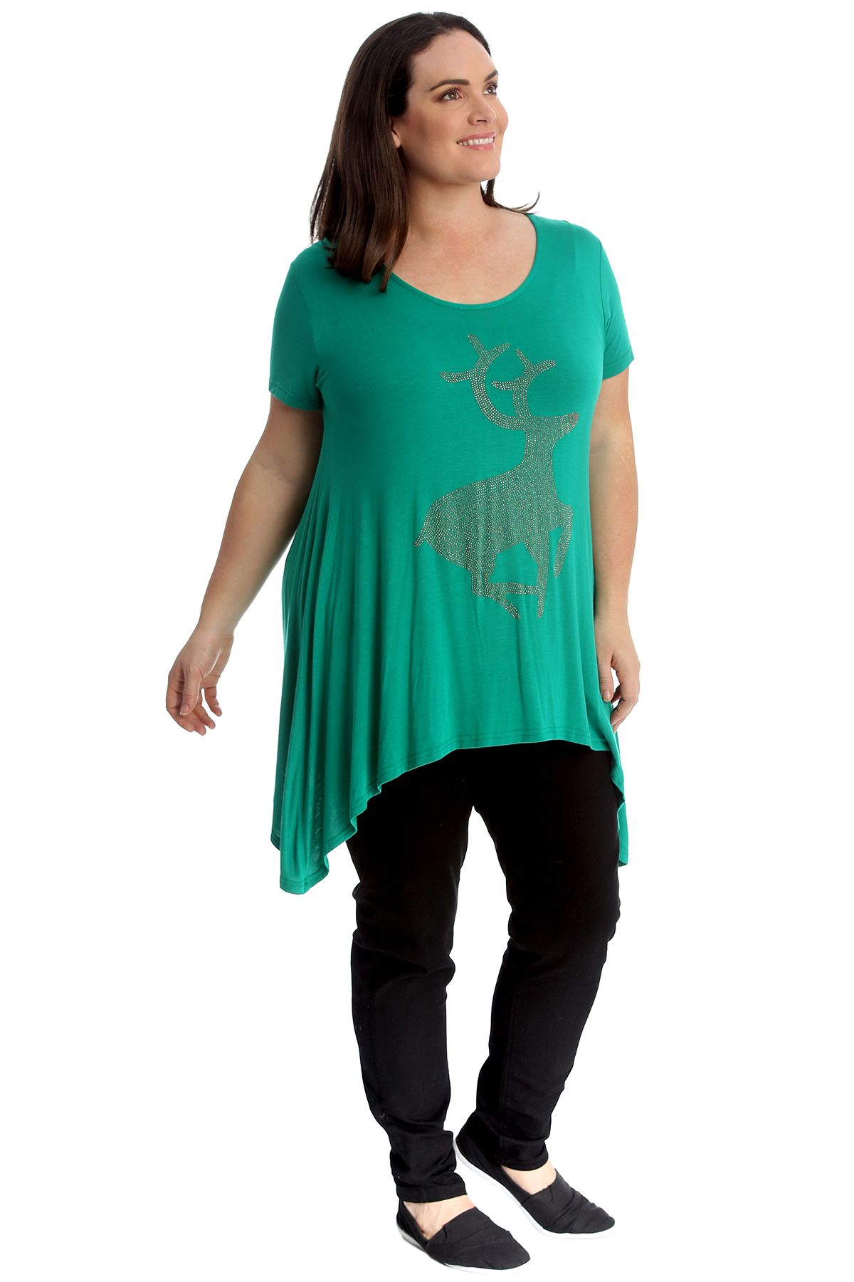 New Ladies Christmas Plus Size Top Studded Reindeer Party Animal Womens Nouvelle