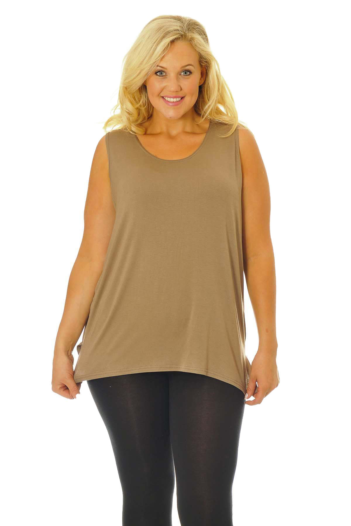 New Womens Plus Size Vest Ladies Plain Top Sleeveless ...
