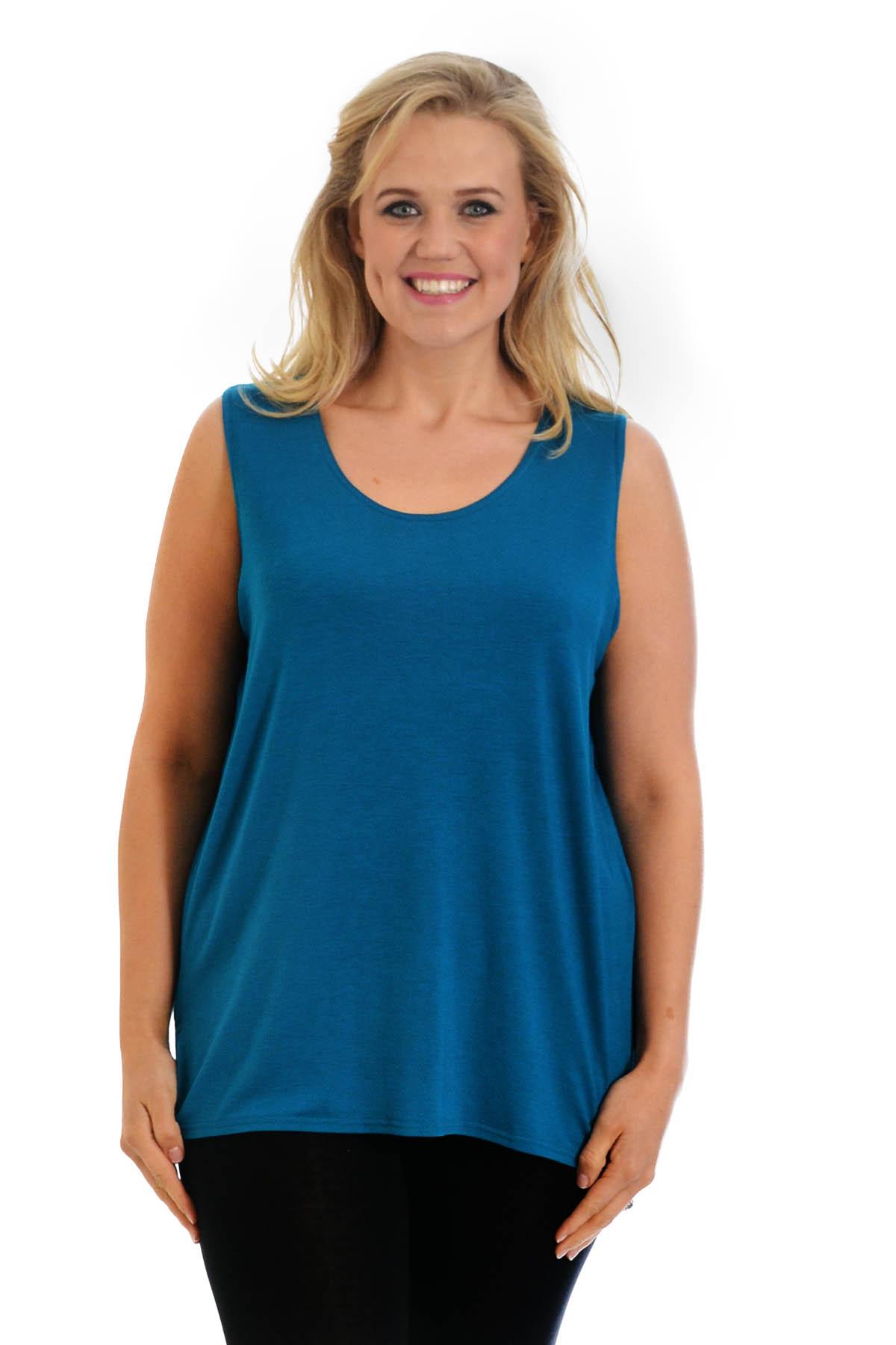 New Ladies Plus Size Vest Womens Plain Top Camisole Tunic ...